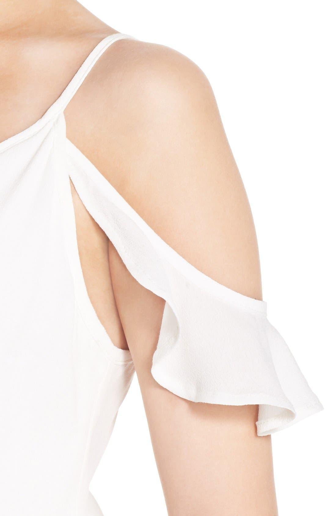Cold Shoulder Wrap Front Maxi Dress,                             Alternate thumbnail 4, color,                             WHITE
