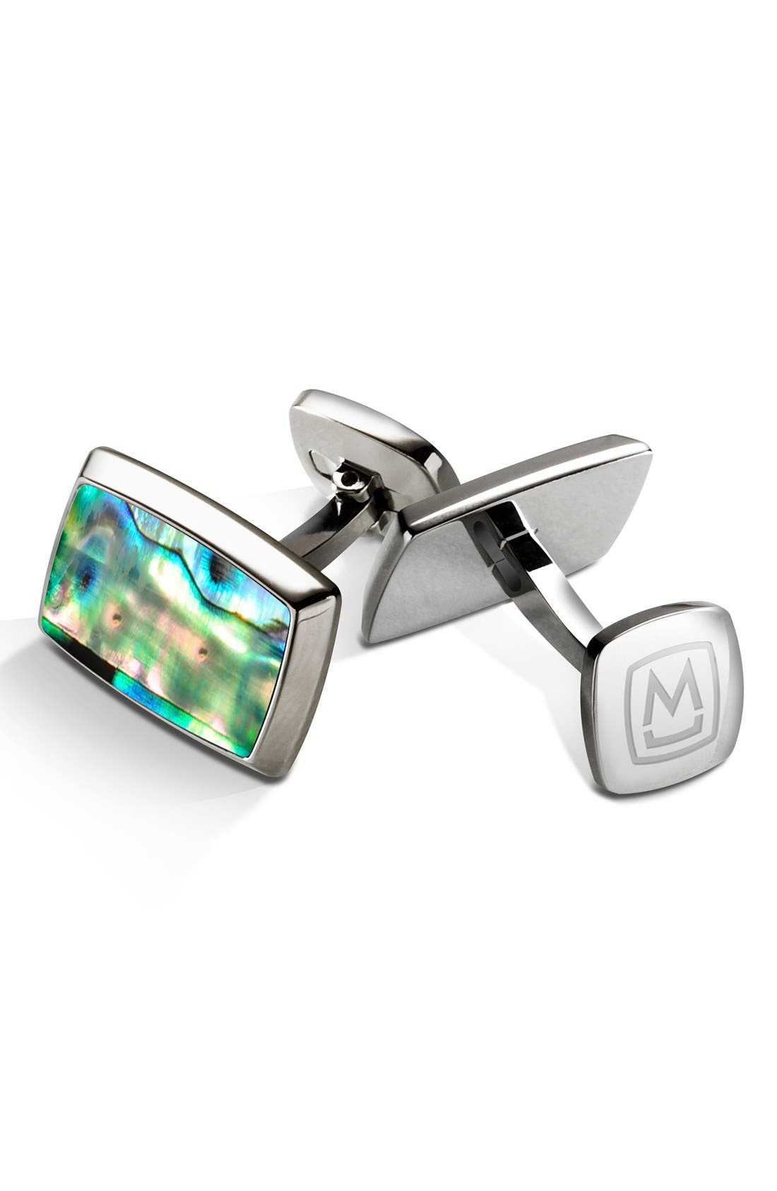 M-CLIP<SUP>®</SUP>,                             Abalone Cuff Links,                             Main thumbnail 1, color,                             040