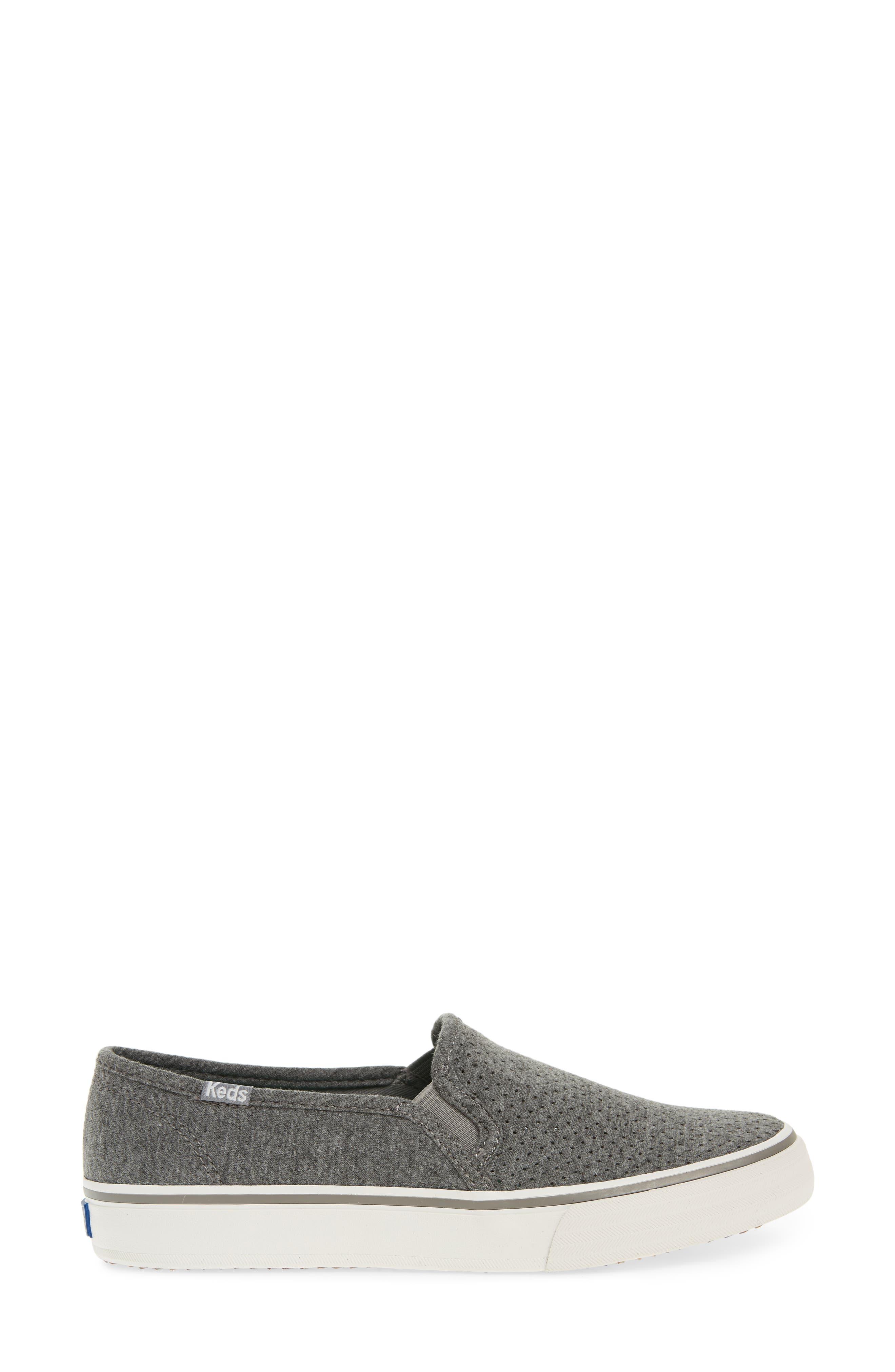Double Decker Perforated Slip-On Sneaker,                             Alternate thumbnail 3, color,                             021