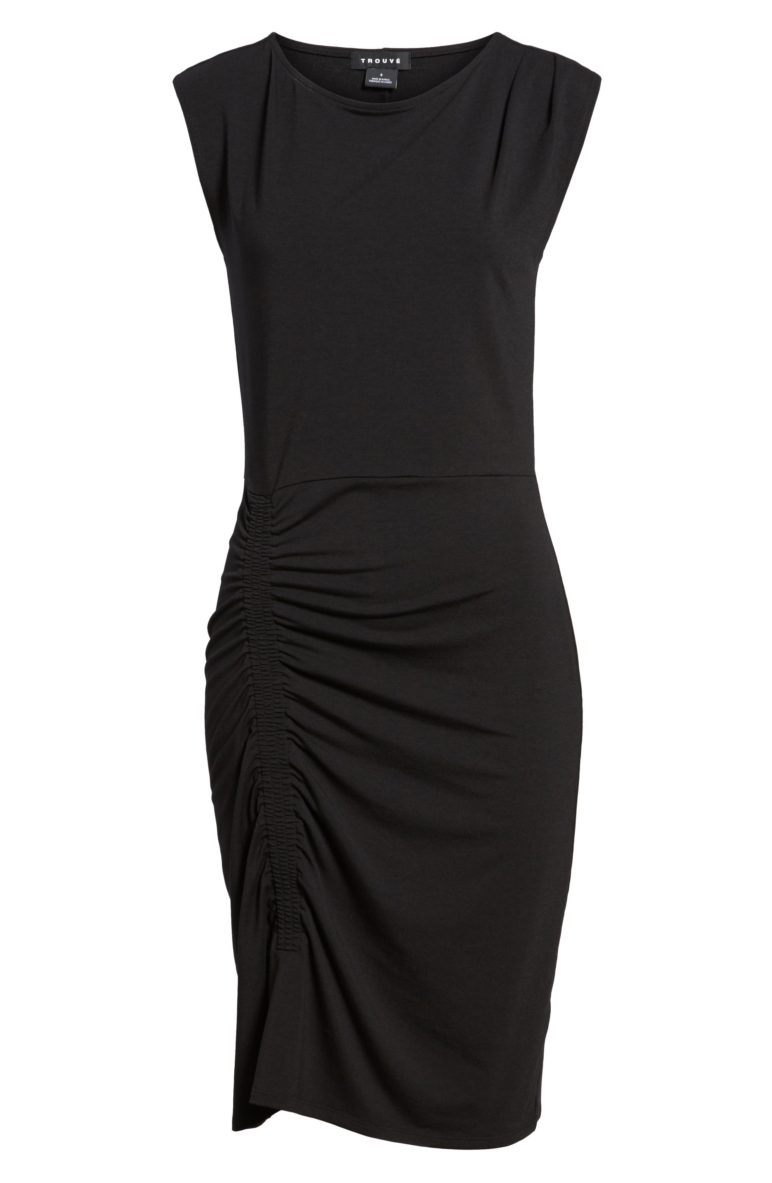 Ruched Knit Dress,                             Alternate thumbnail 7, color,                             001
