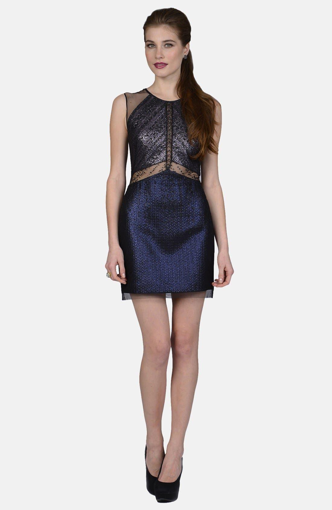 PHOEBE by Kay Unger Mixed Media Sheath Dress, Main, color, 002