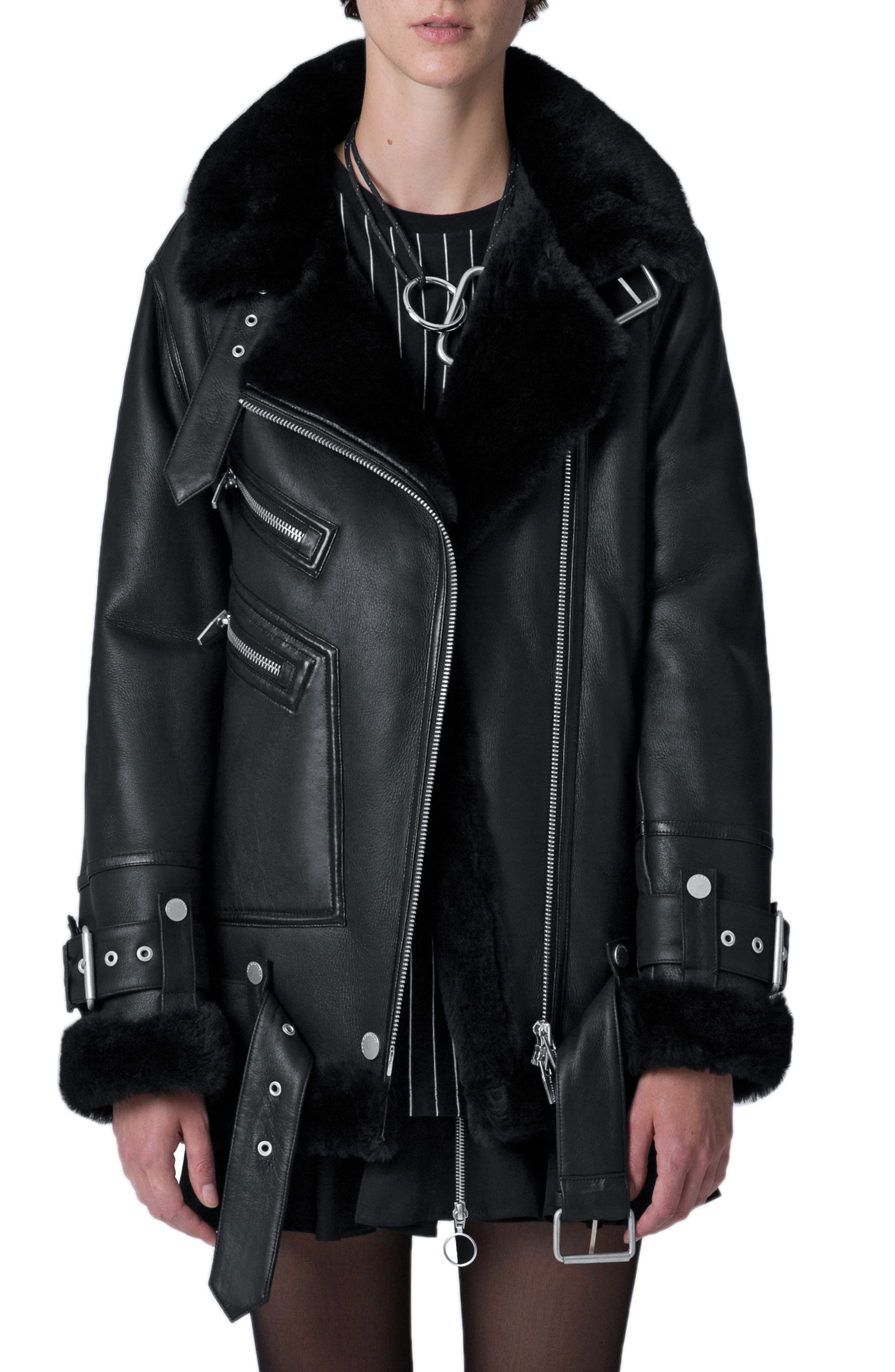 The Arrivals Moya Iii Oversize Leather & Genuine Shearling Jacket, Black