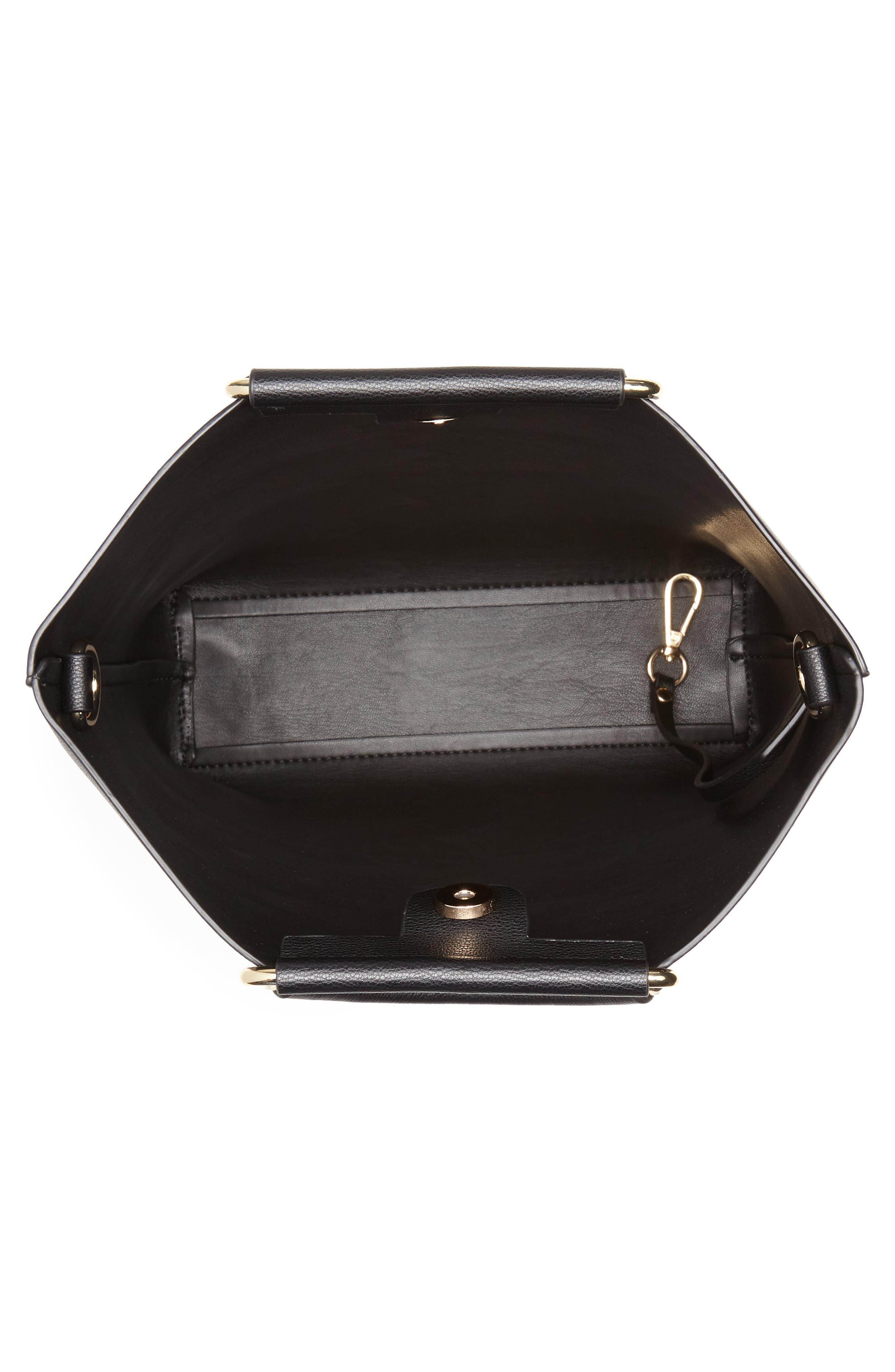 Payton Convertible Faux Leather Tote,                             Alternate thumbnail 4, color,                             BLACK