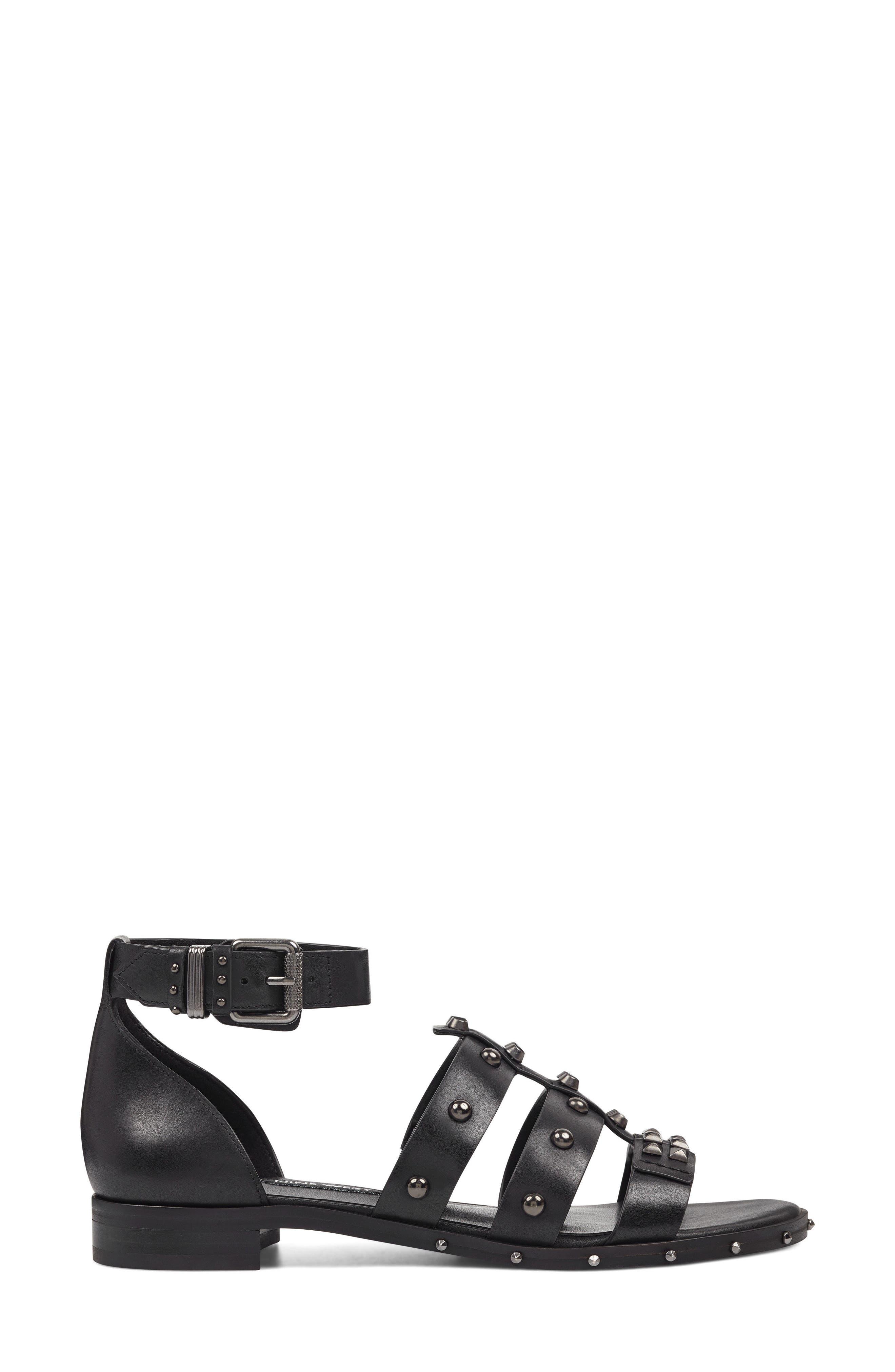 Corisande Sandal,                             Alternate thumbnail 3, color,                             BLACK LEATHER