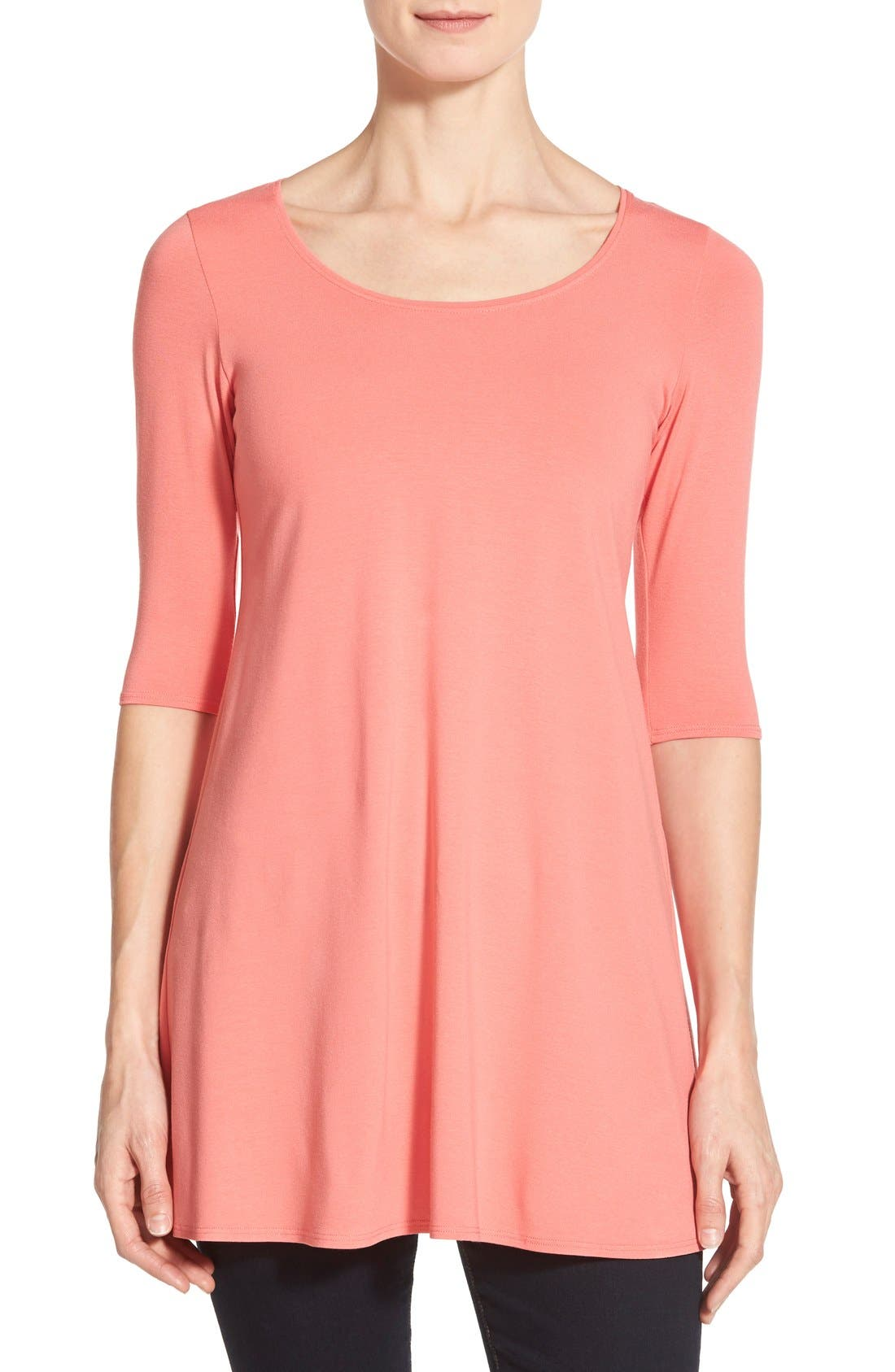 Scoop Neck Elbow Sleeve Jersey Tunic,                             Main thumbnail 17, color,