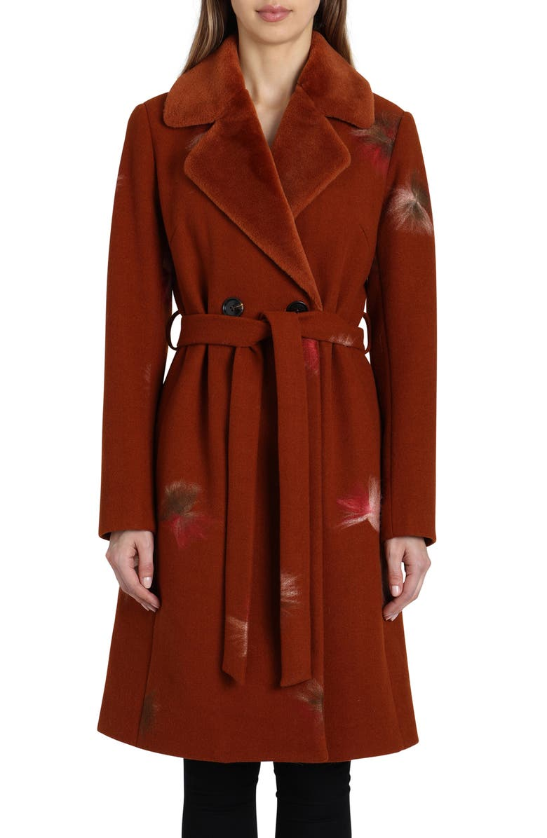 Badgley Mischka Felted Embroidery Wool Blend Coat | Nordstrom