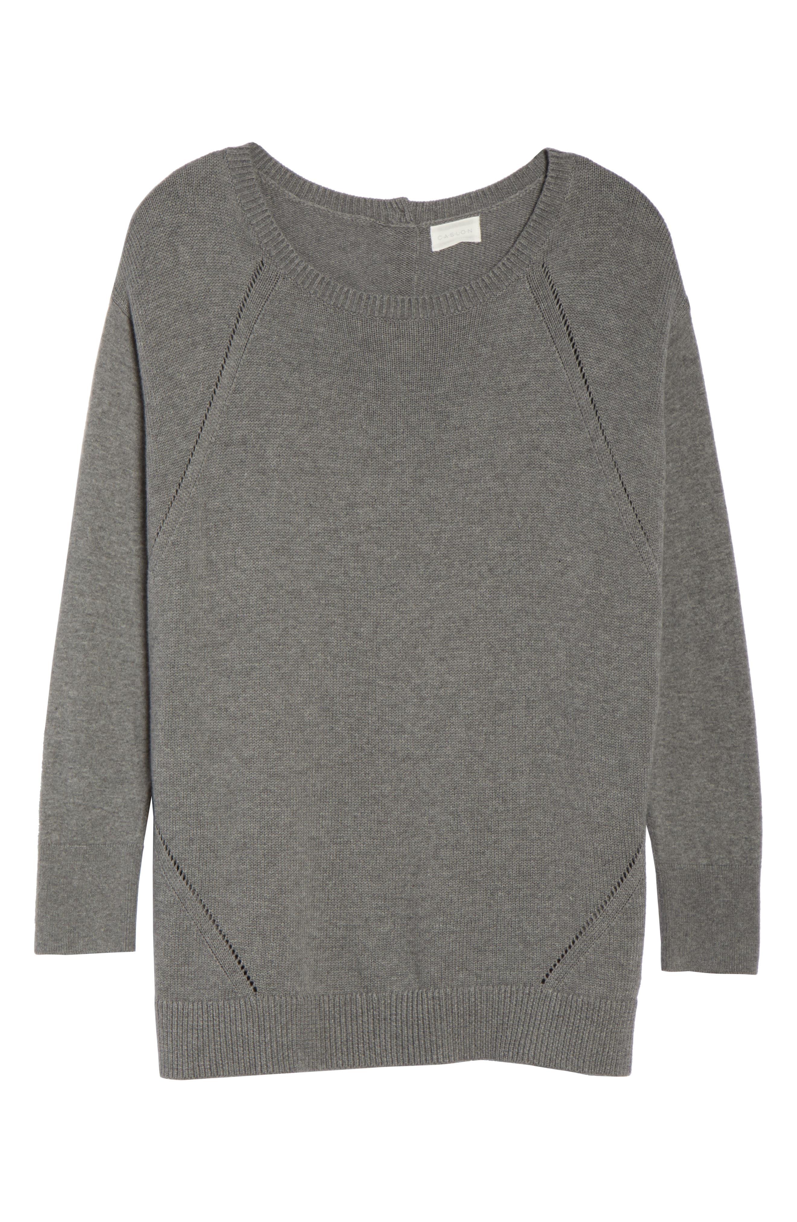 Button Back Tunic Sweater,                             Alternate thumbnail 6, color,                             GREY DARK HEATHER