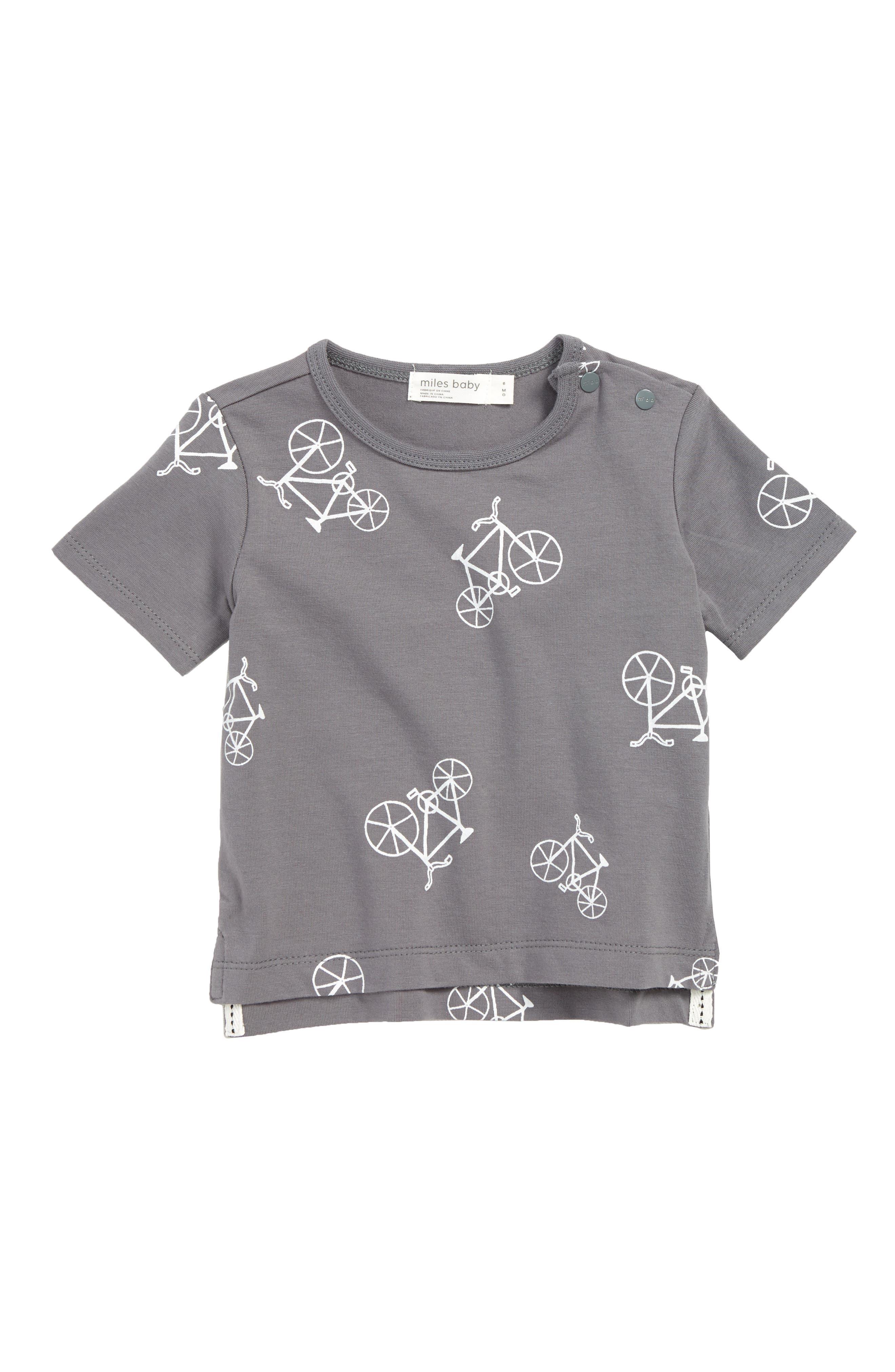 Bike Print T-Shirt, Main, color, MEDIUM GREY