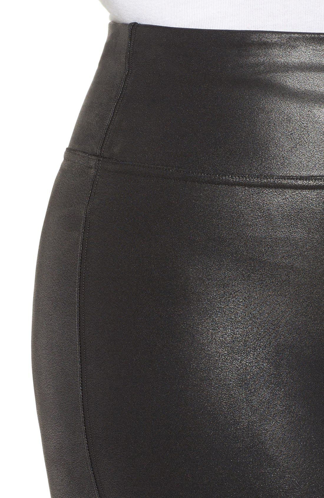 Faux Leather Leggings,                             Alternate thumbnail 8, color,                             BLACK