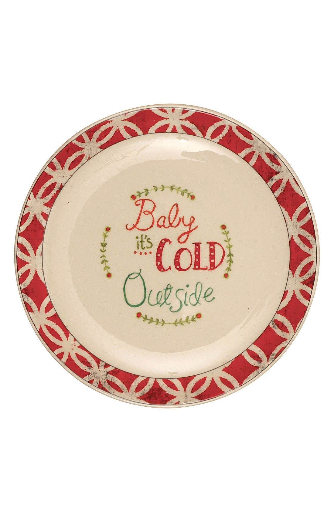 'Baby It's Cold Outside' Ceramic Plate, Main, color, 600