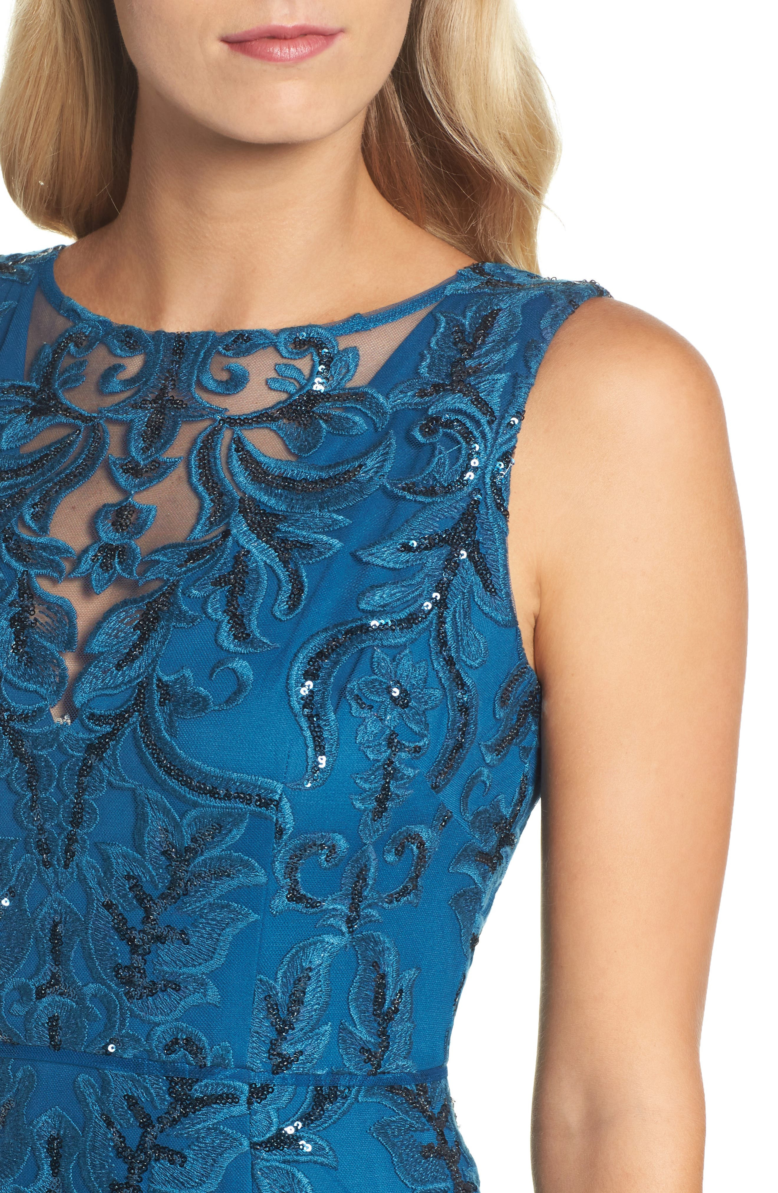Sequin Scroll Gown,                             Alternate thumbnail 4, color,                             471