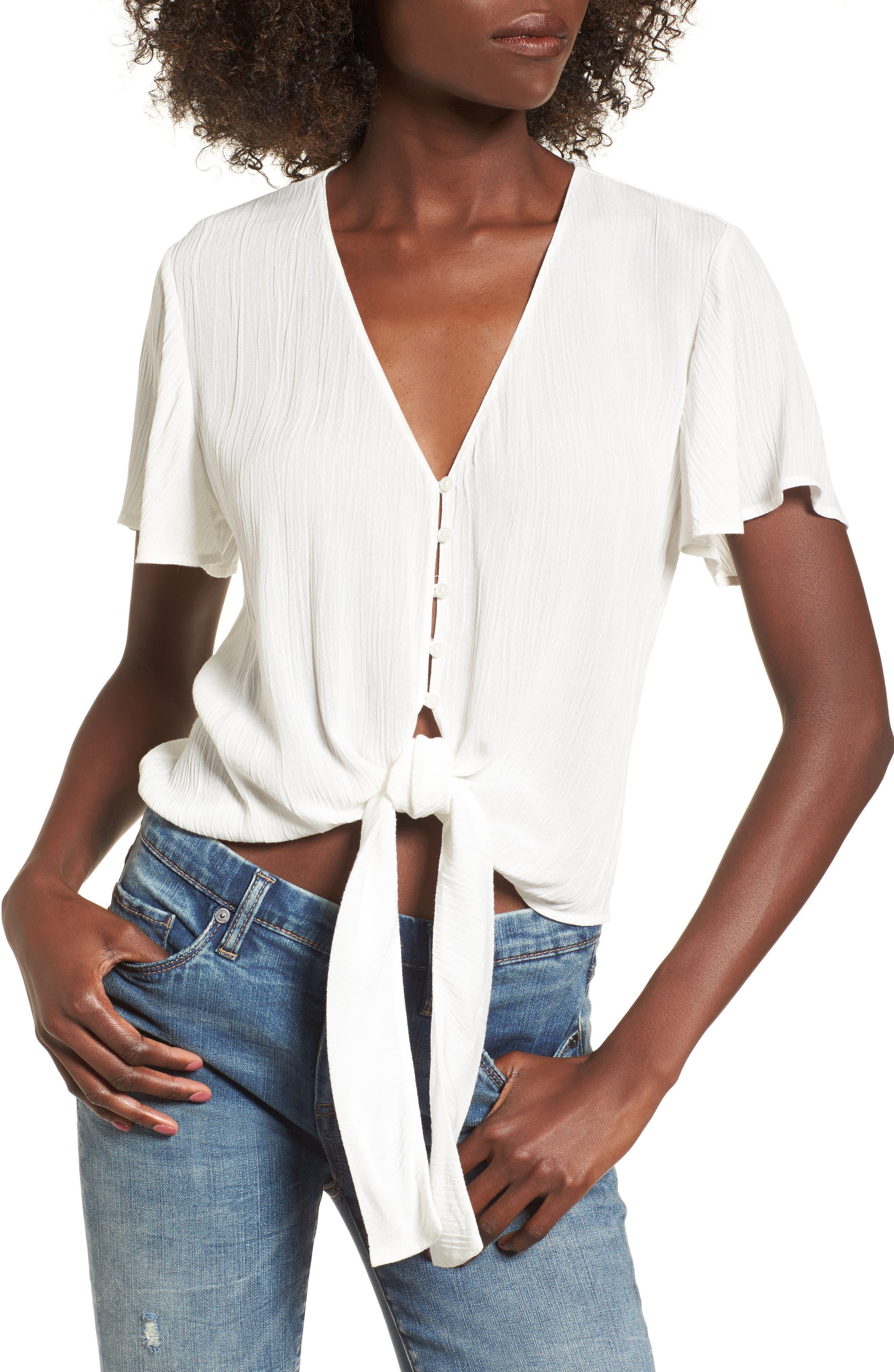 Knot Front Shirt,                             Main thumbnail 5, color,