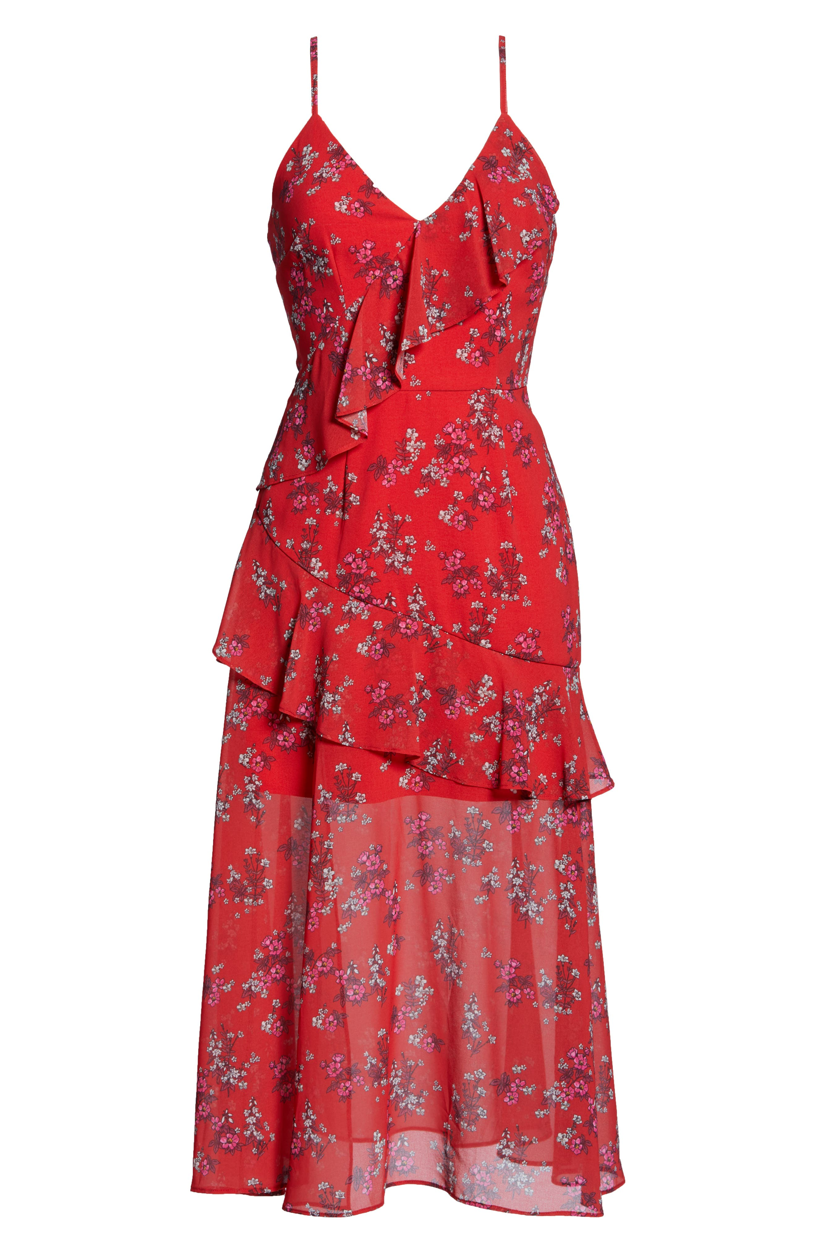 KEEPSAKE THE LABEL,                             Heart & Soul Ruffle Detail Tea Length Dress,                             Alternate thumbnail 7, color,                             SMALL RED FLORAL