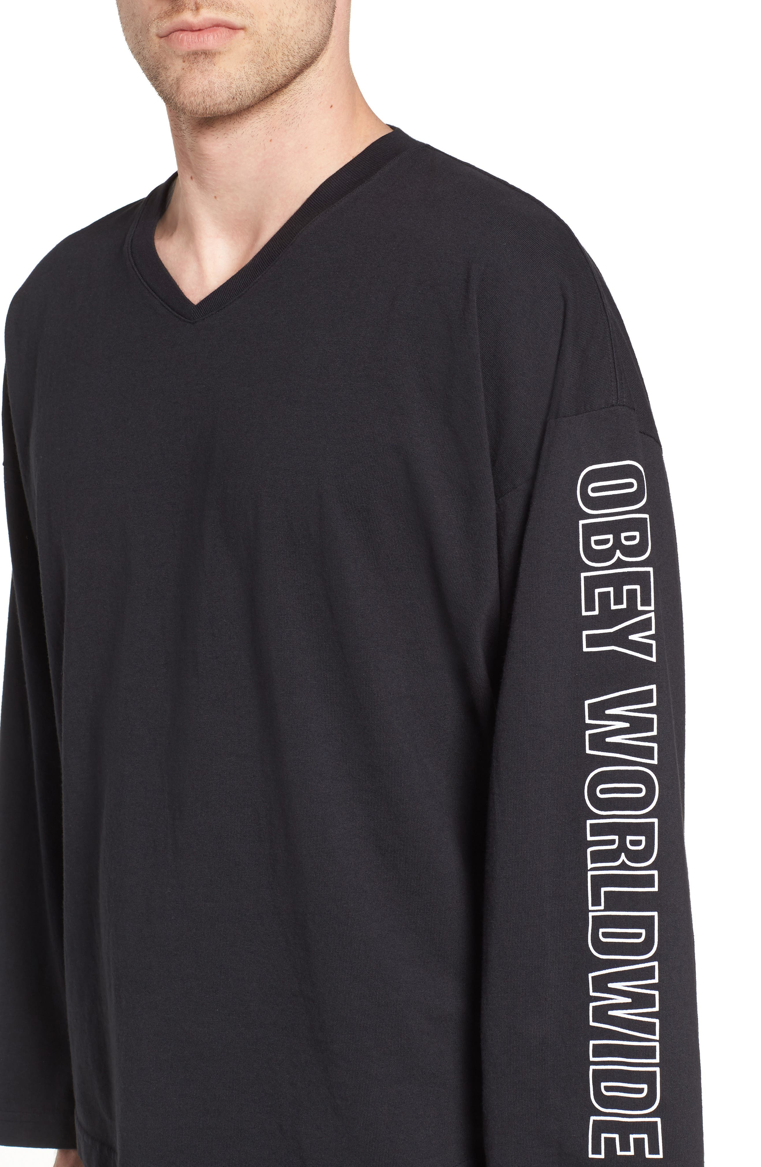 OBEY,                             Worldwide Outline Logo Hockey Jersey,                             Alternate thumbnail 4, color,                             001