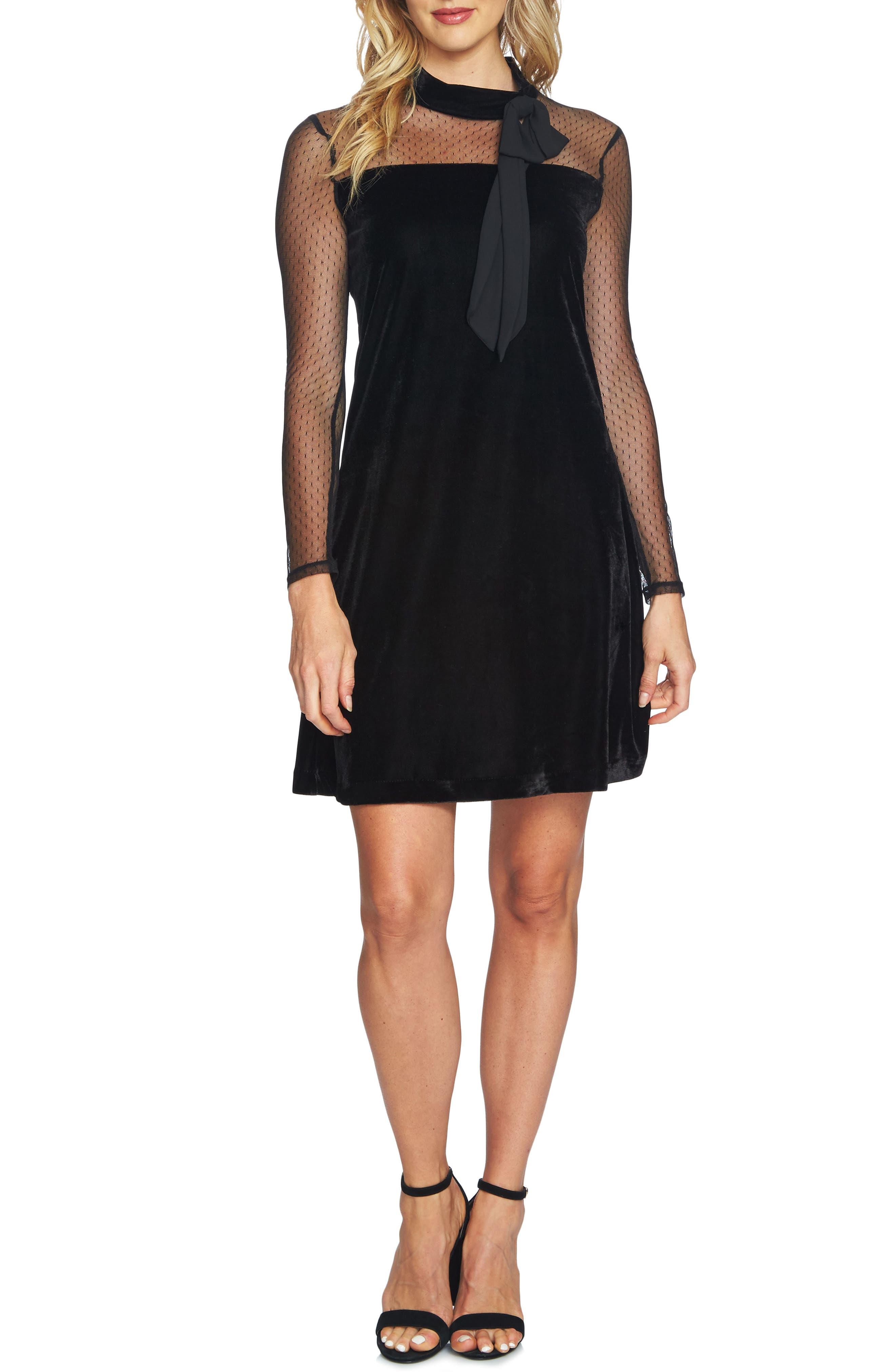 Mixed Media Velvet Dress,                             Main thumbnail 1, color,                             006