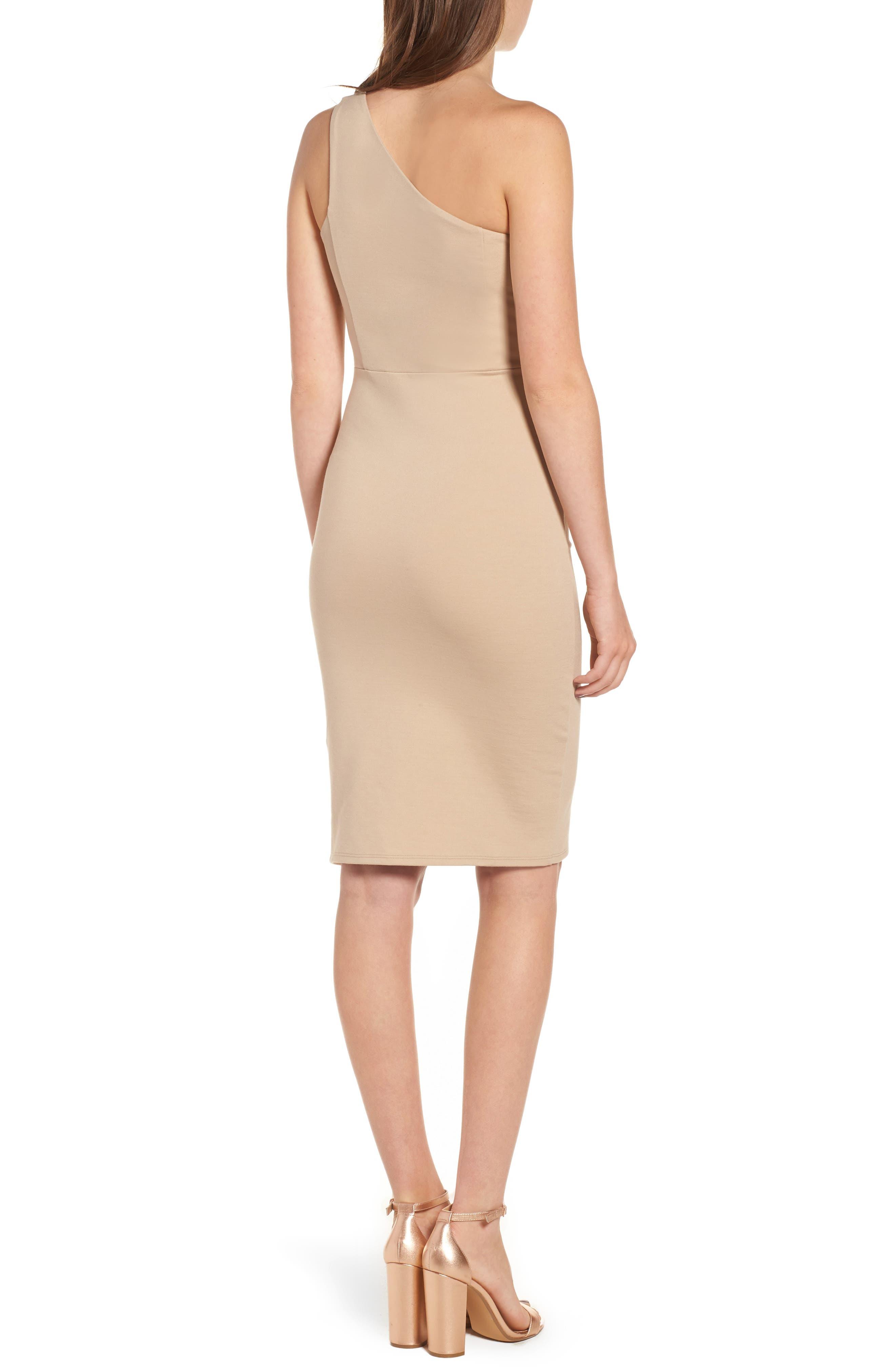 One-Shoulder Body-Con Dress,                             Alternate thumbnail 5, color,