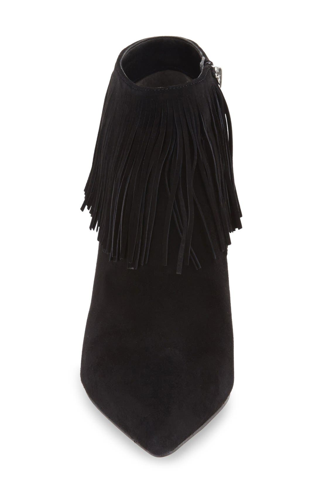 SAM EDELMAN,                             'Kandice' Fringed Suede Pointy Toe Bootie,                             Alternate thumbnail 2, color,                             002