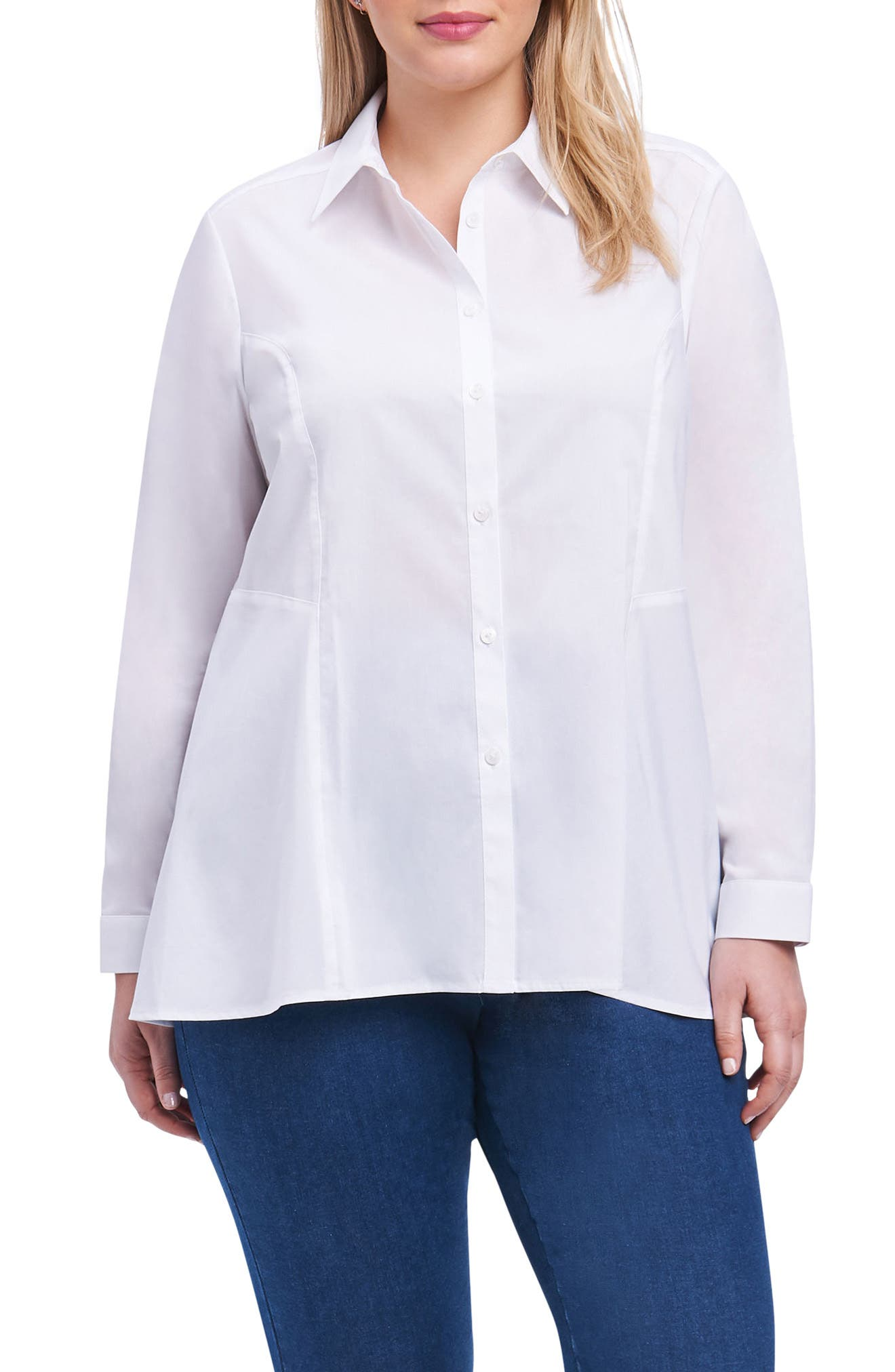 Portia Stretch Button Down Shirt,                         Main,                         color, 100