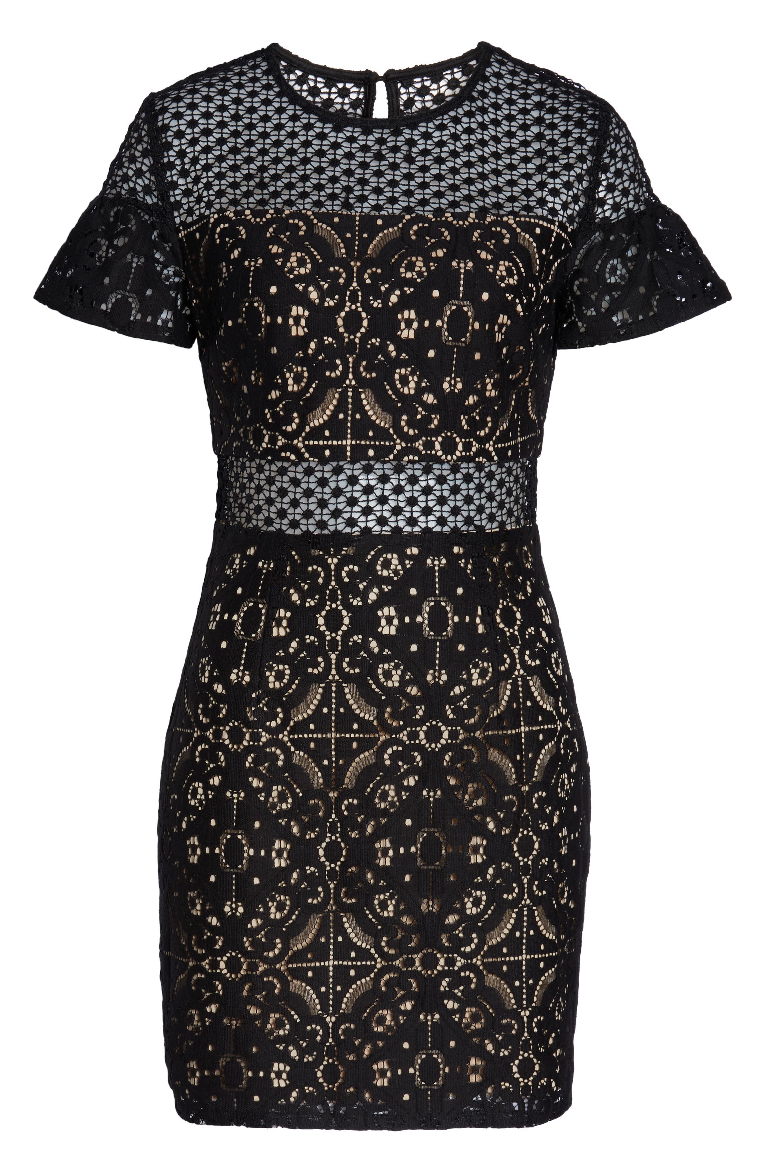 Brittney Ruffle Sleeve Lace Dress,                             Alternate thumbnail 7, color,                             BLACK