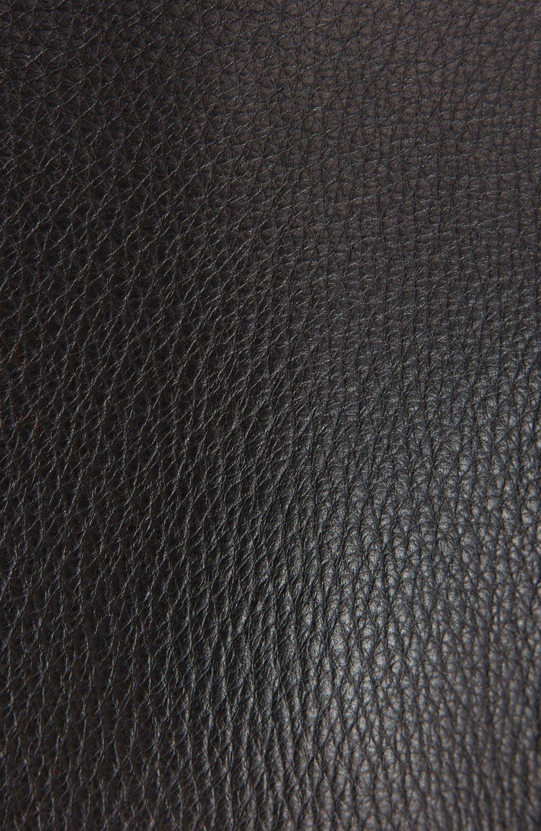 Leather Biker Jacket,                             Alternate thumbnail 6, color,                             BLACK