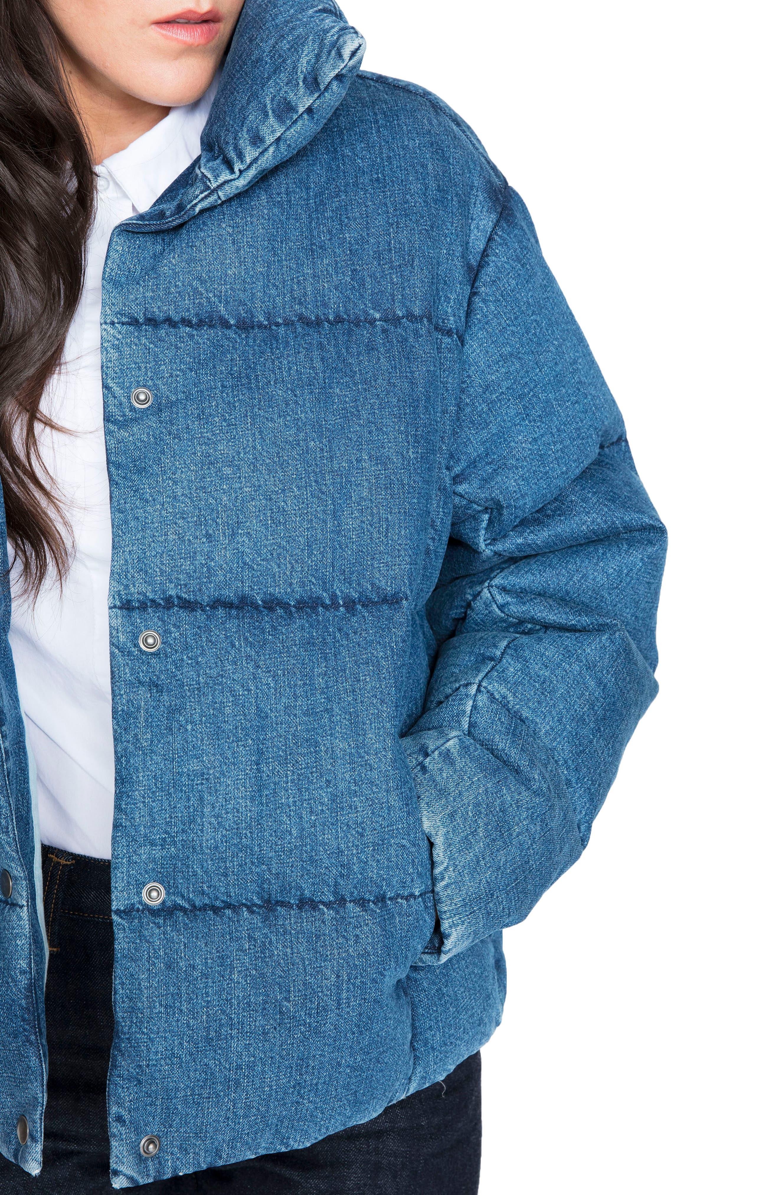 Denim Down Puffer Jacket,                             Alternate thumbnail 4, color,                             BLUE
