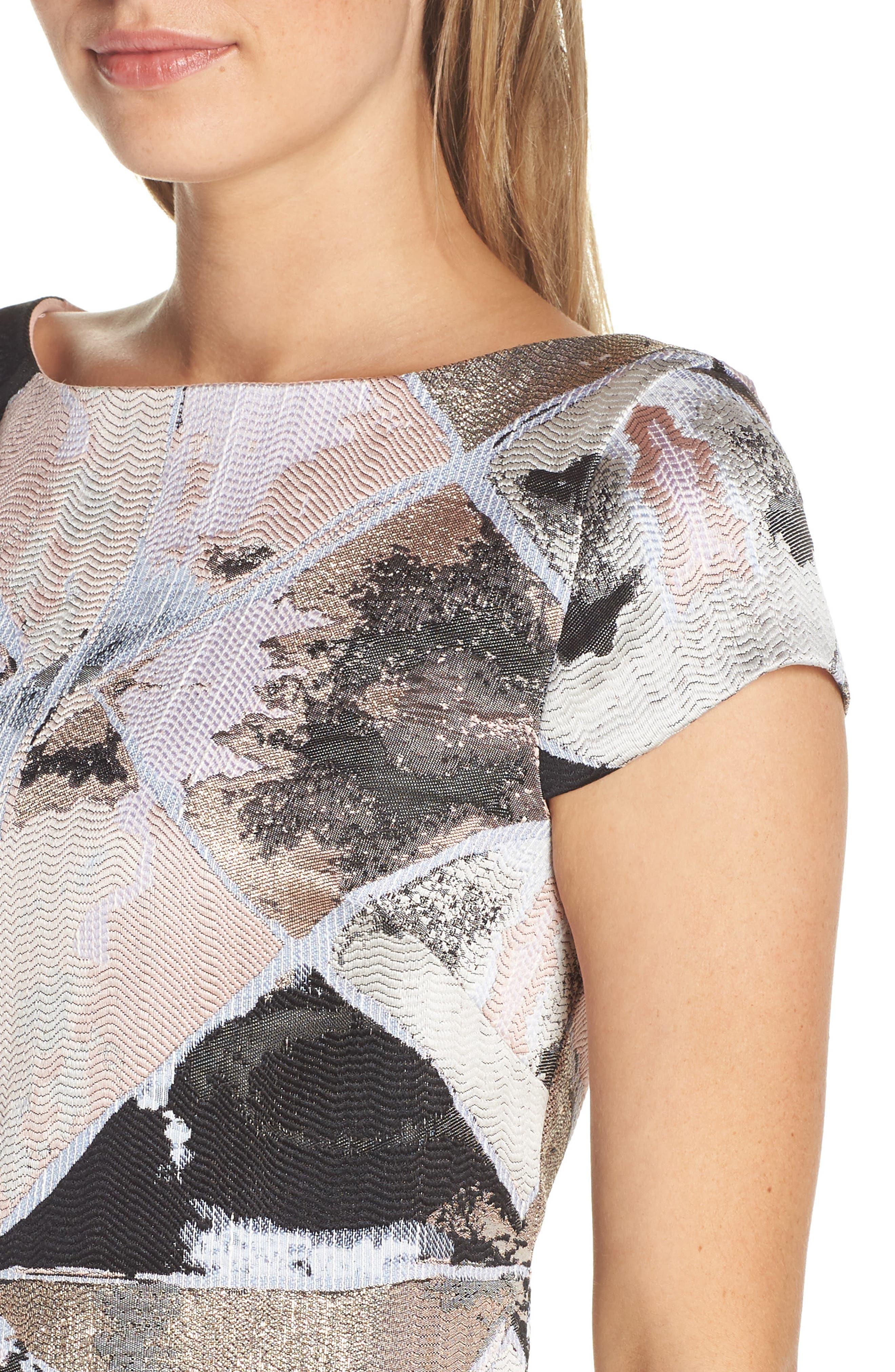 Jacquard Sheath Dress,                             Alternate thumbnail 4, color,                             BLUSH