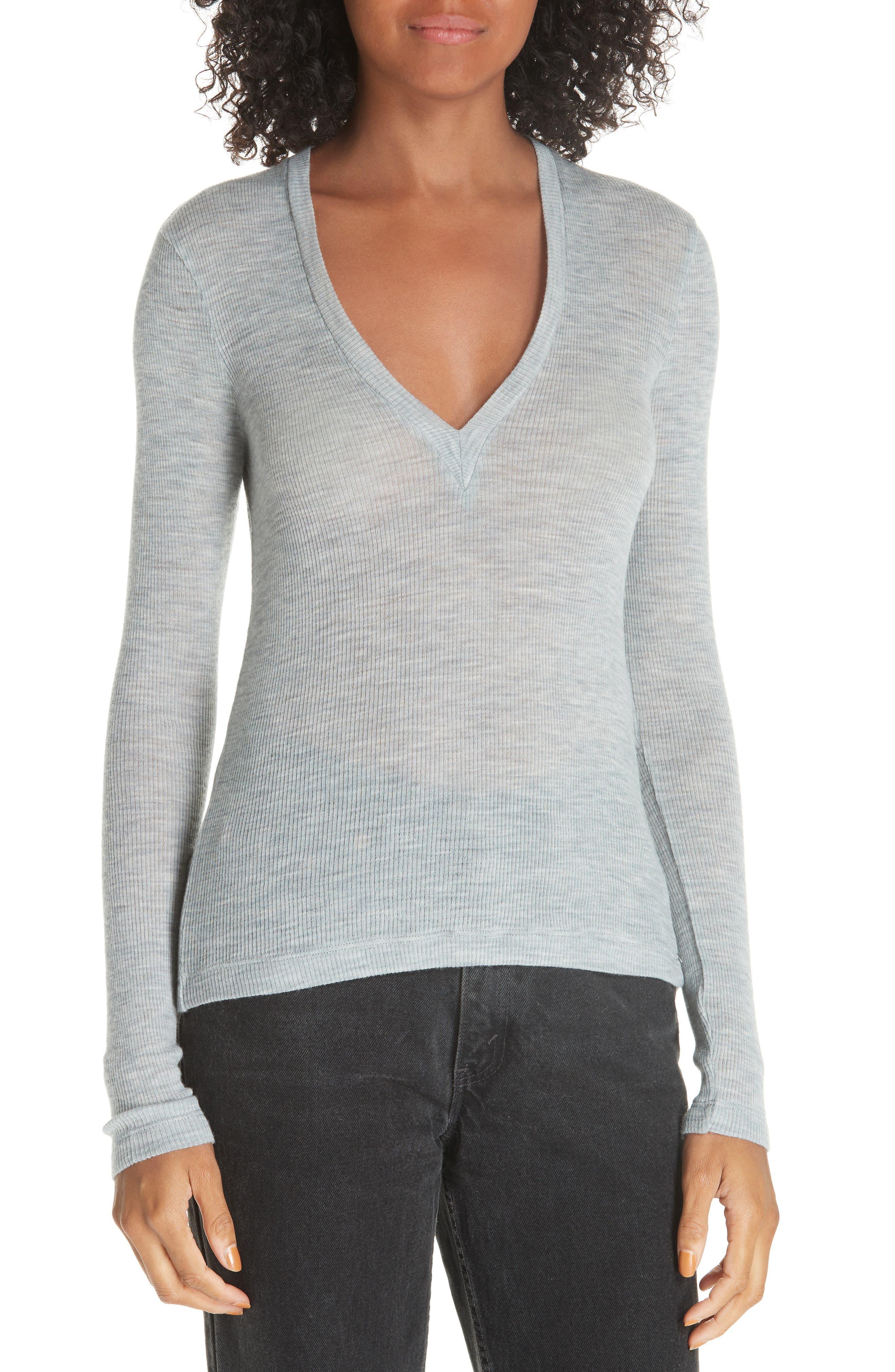 Sheer Rib Wool Top,                         Main,                         color, LIGHT HEATHER GREY