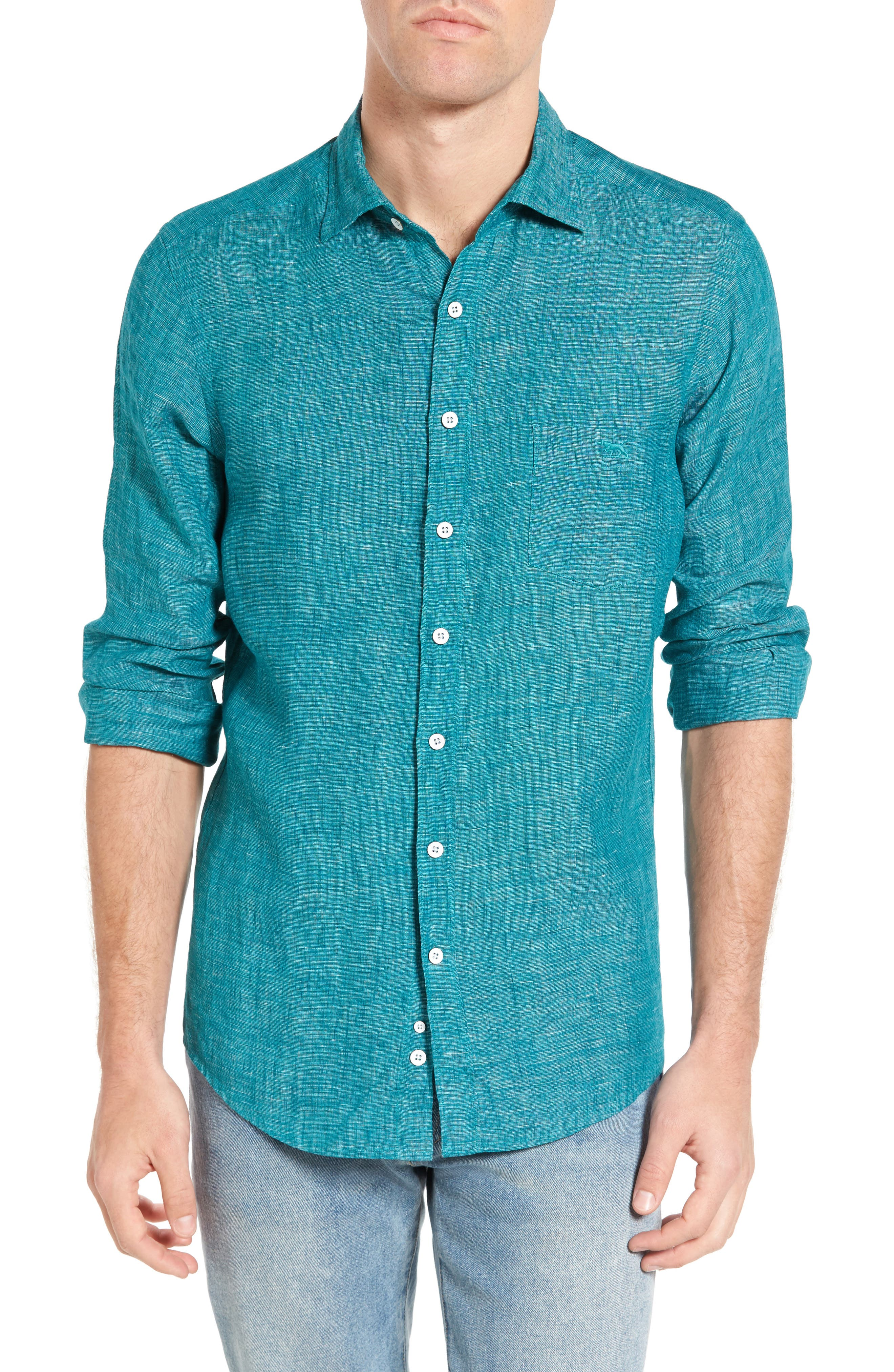 Norsewood Sports Fit Linen Sport Shirt,                         Main,                         color, 342