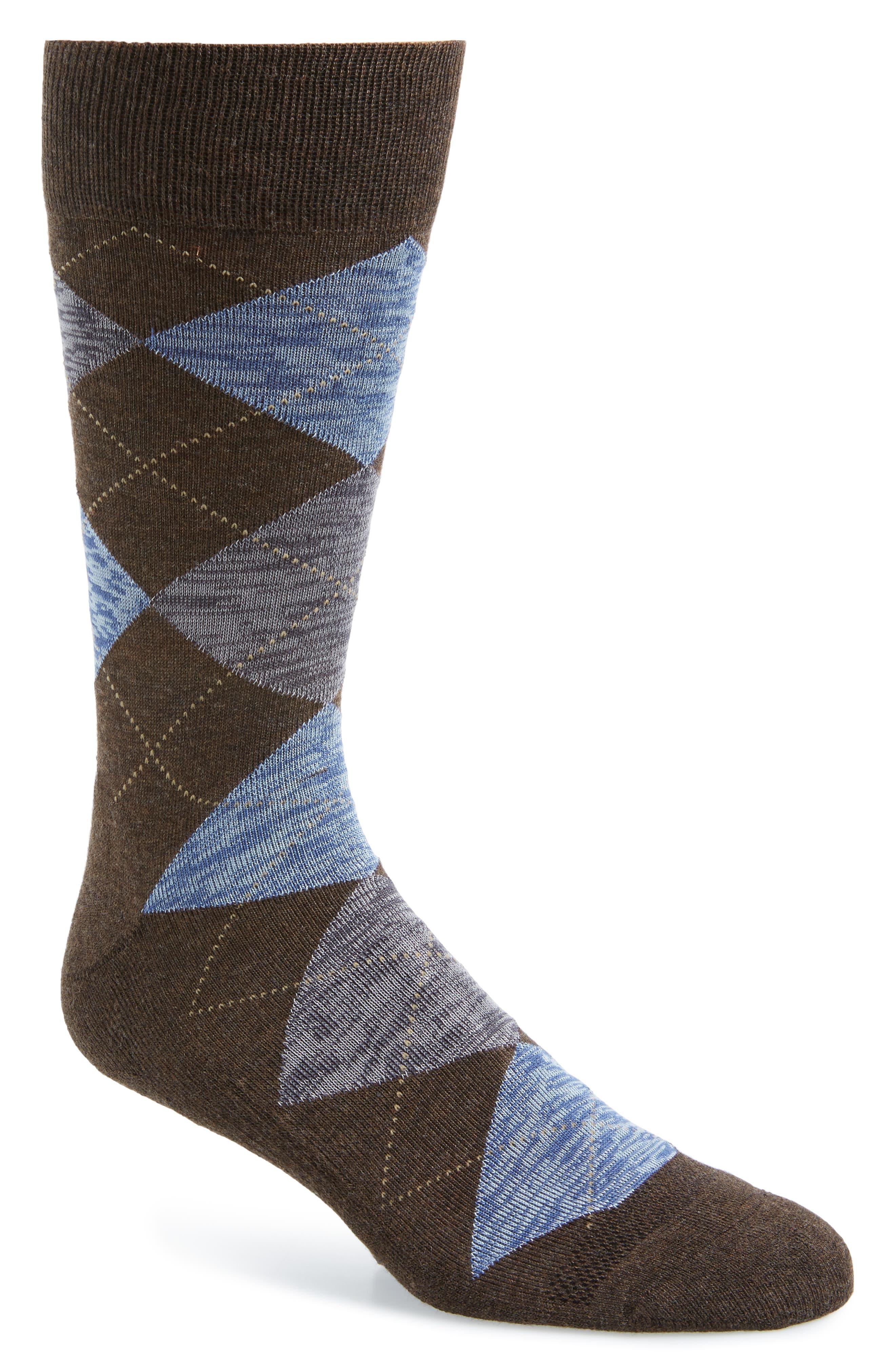 History of Vintage Men's Socks -1900 to 1960s Mens Nordstrom Mens Shop Marled Argyle Socks Size One Size - Brown $12.50 AT vintagedancer.com
