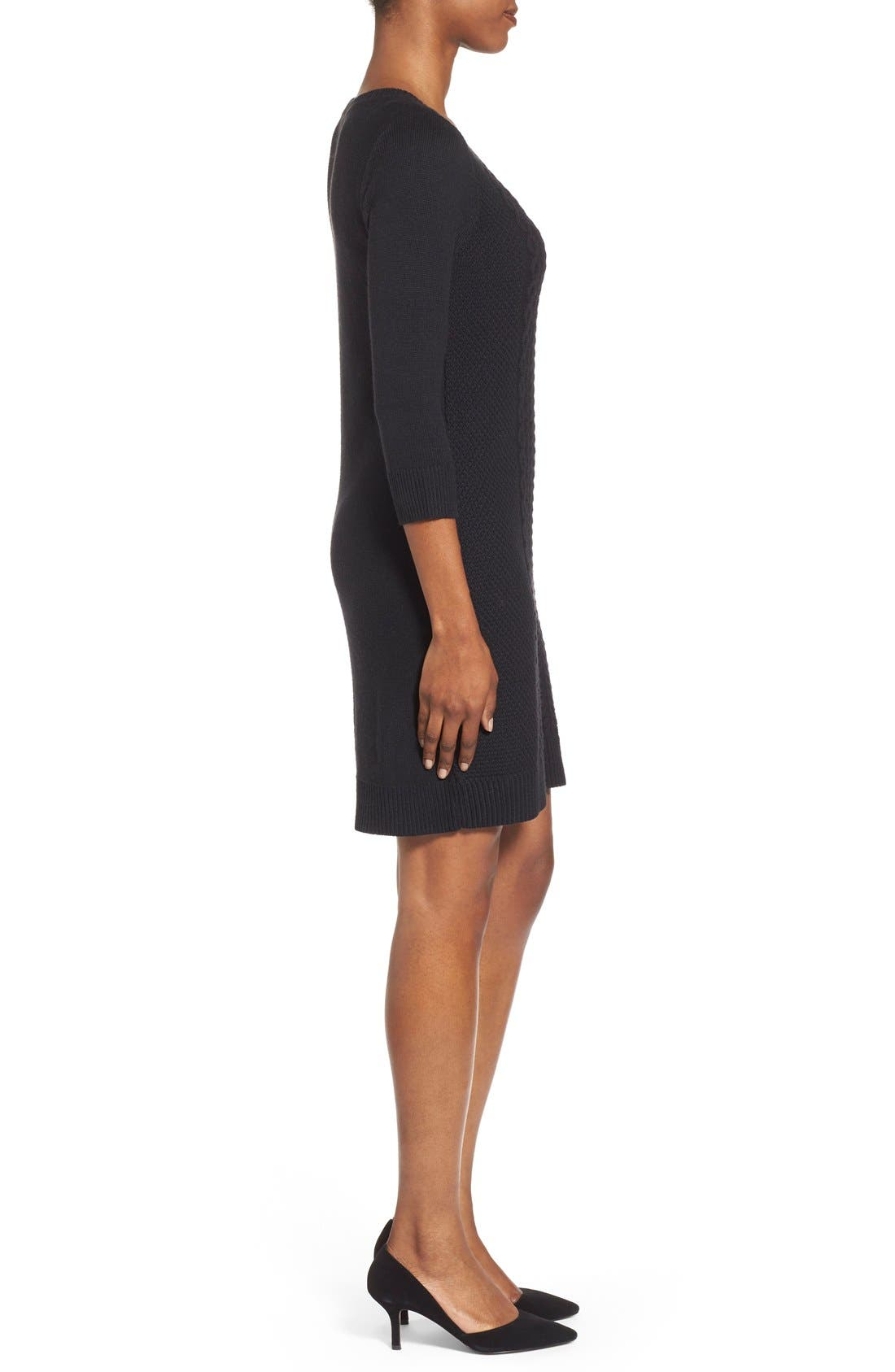 Cable Knit Sweater Dress,                             Alternate thumbnail 4, color,                             001