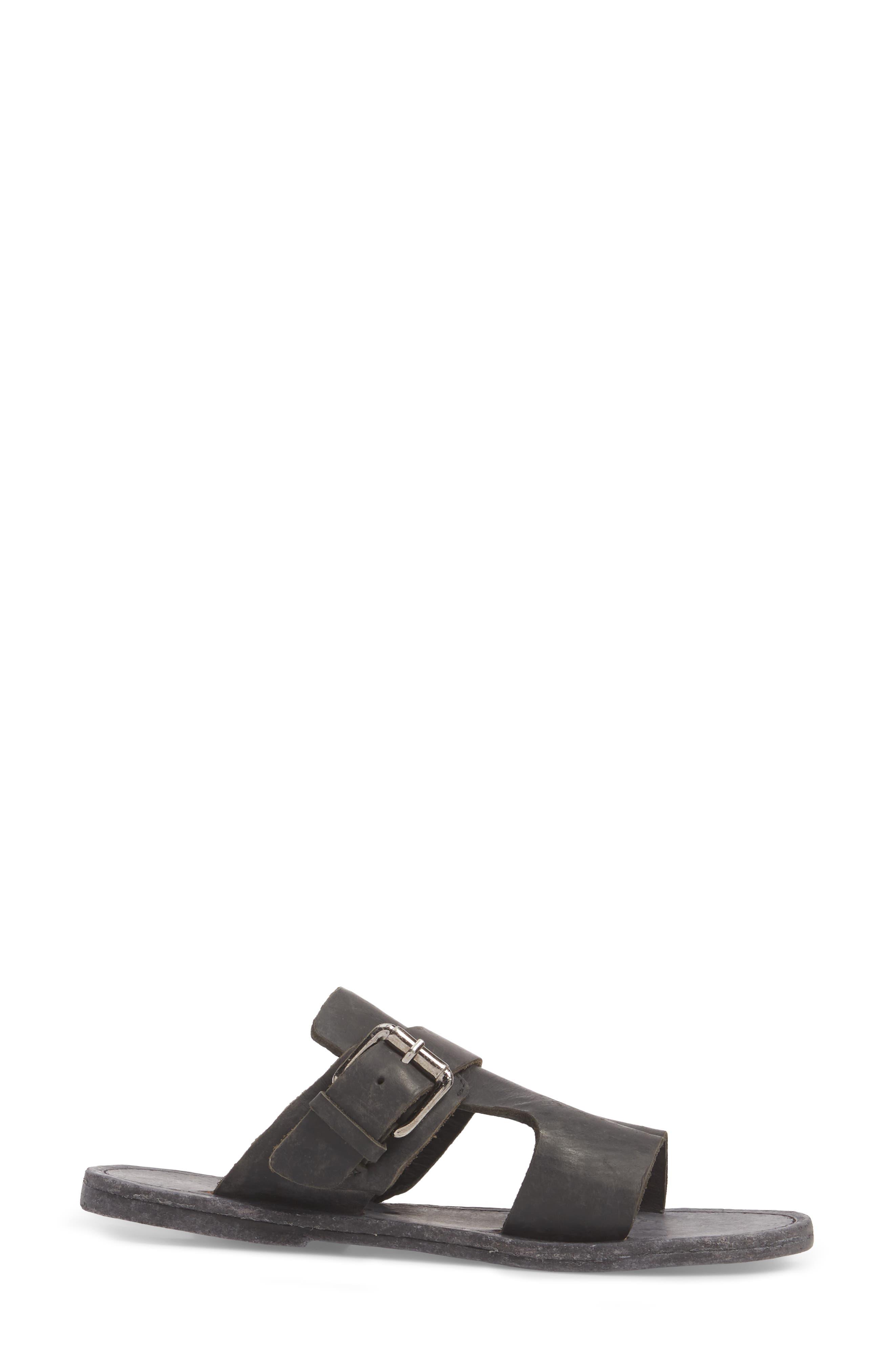 Abbie Slide Sandal,                             Alternate thumbnail 3, color,                             BLACK LEATHER