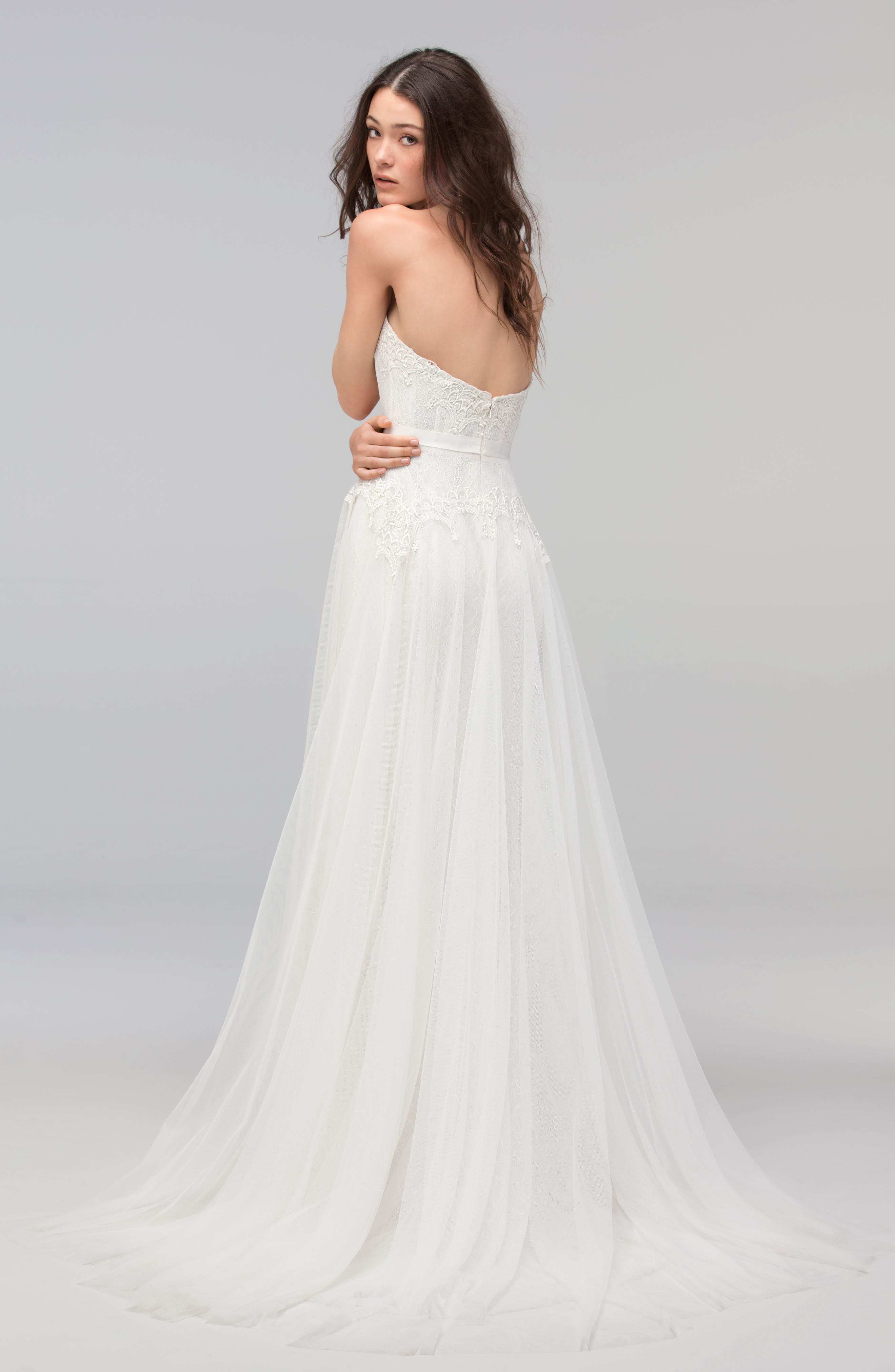 Lupine Strapless Chantilly Lace & Net Gown,                             Alternate thumbnail 2, color,                             IVORY/OYSTER