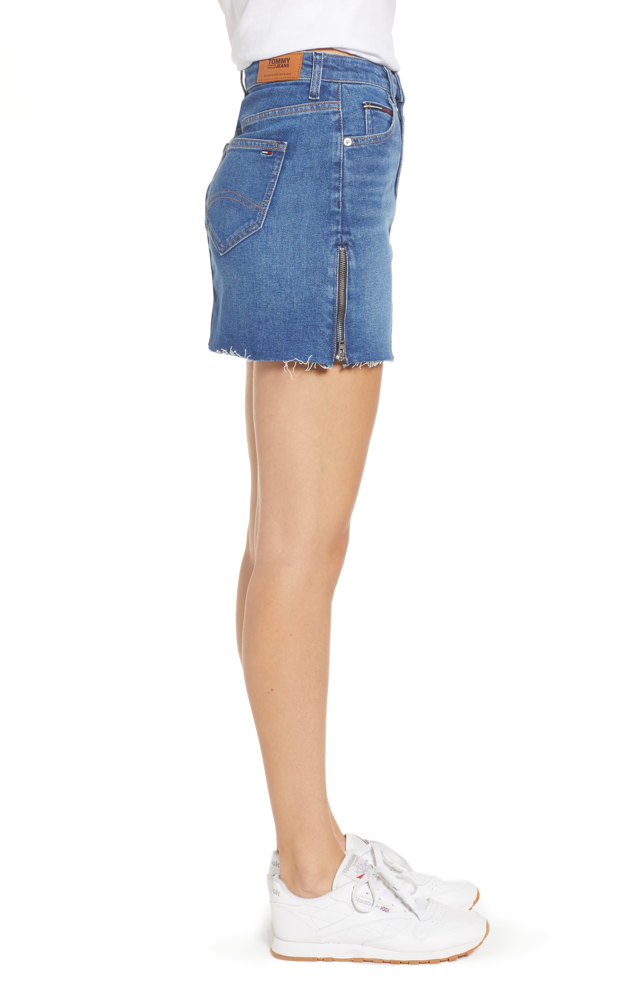 Denim Skirt,                             Alternate thumbnail 3, color,                             BIKER MID BLUE COMFORT