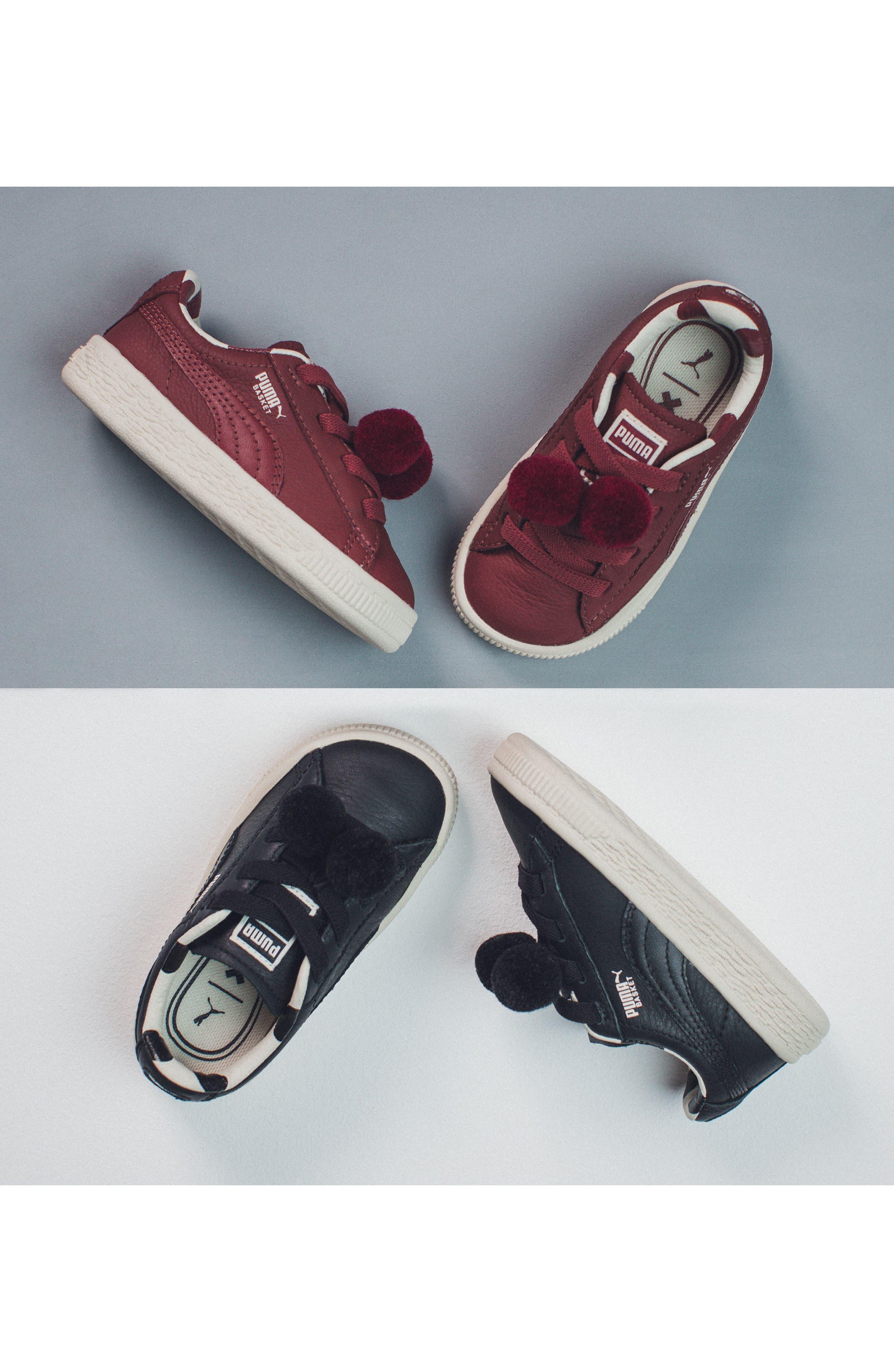 x tinycottons Basket Pompom Sneaker,                             Alternate thumbnail 7, color,                             001