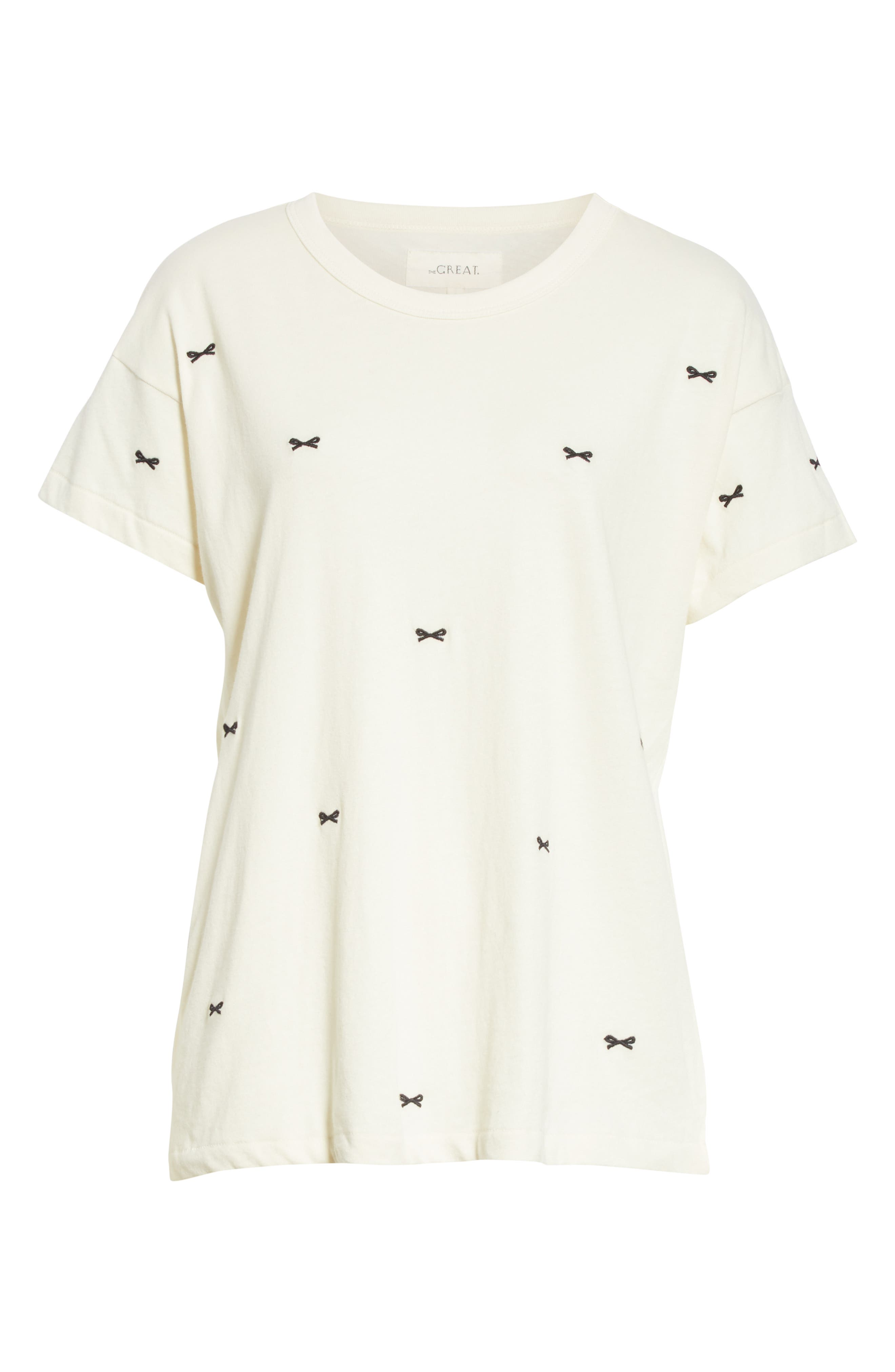 The Embroidered Boxy Crew Tee,                             Alternate thumbnail 6, color,                             WASHED WHITE W/ BOW EMB
