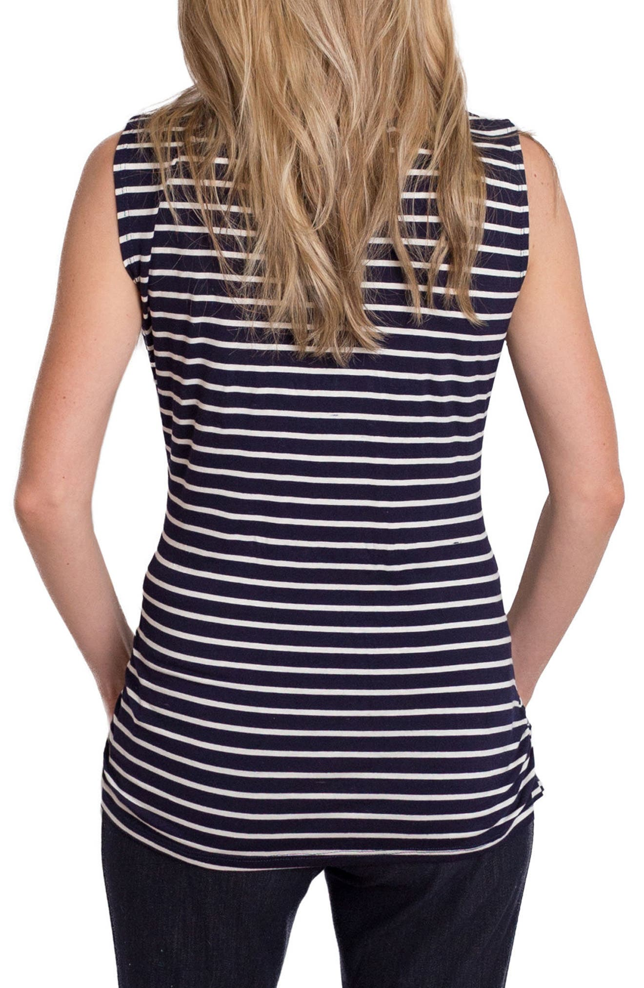 Trendy Nursing Tank,                             Alternate thumbnail 3, color,                             NAVY/ WHITE STRIPE
