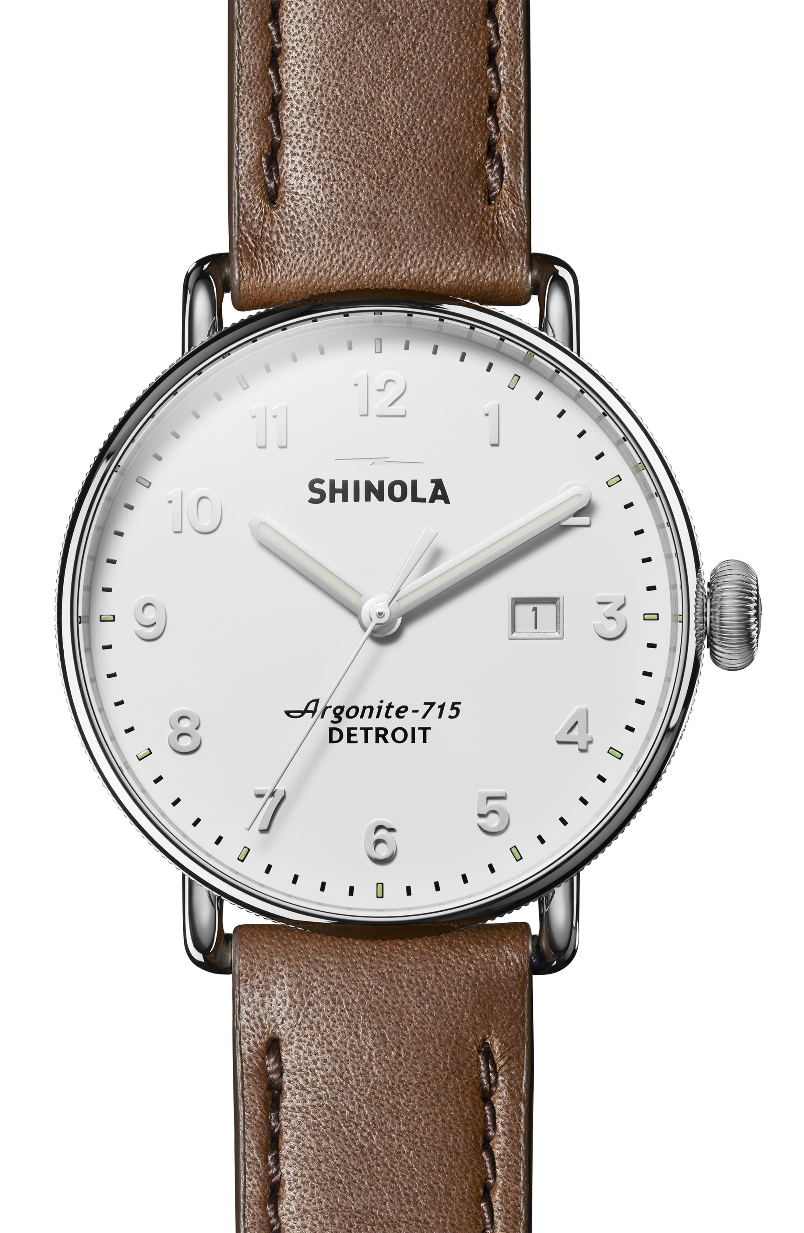 The Canfield Leather Strap Watch, 45mm,                             Main thumbnail 1, color,                             DK BROWN/ALBSTER WHT/SILV