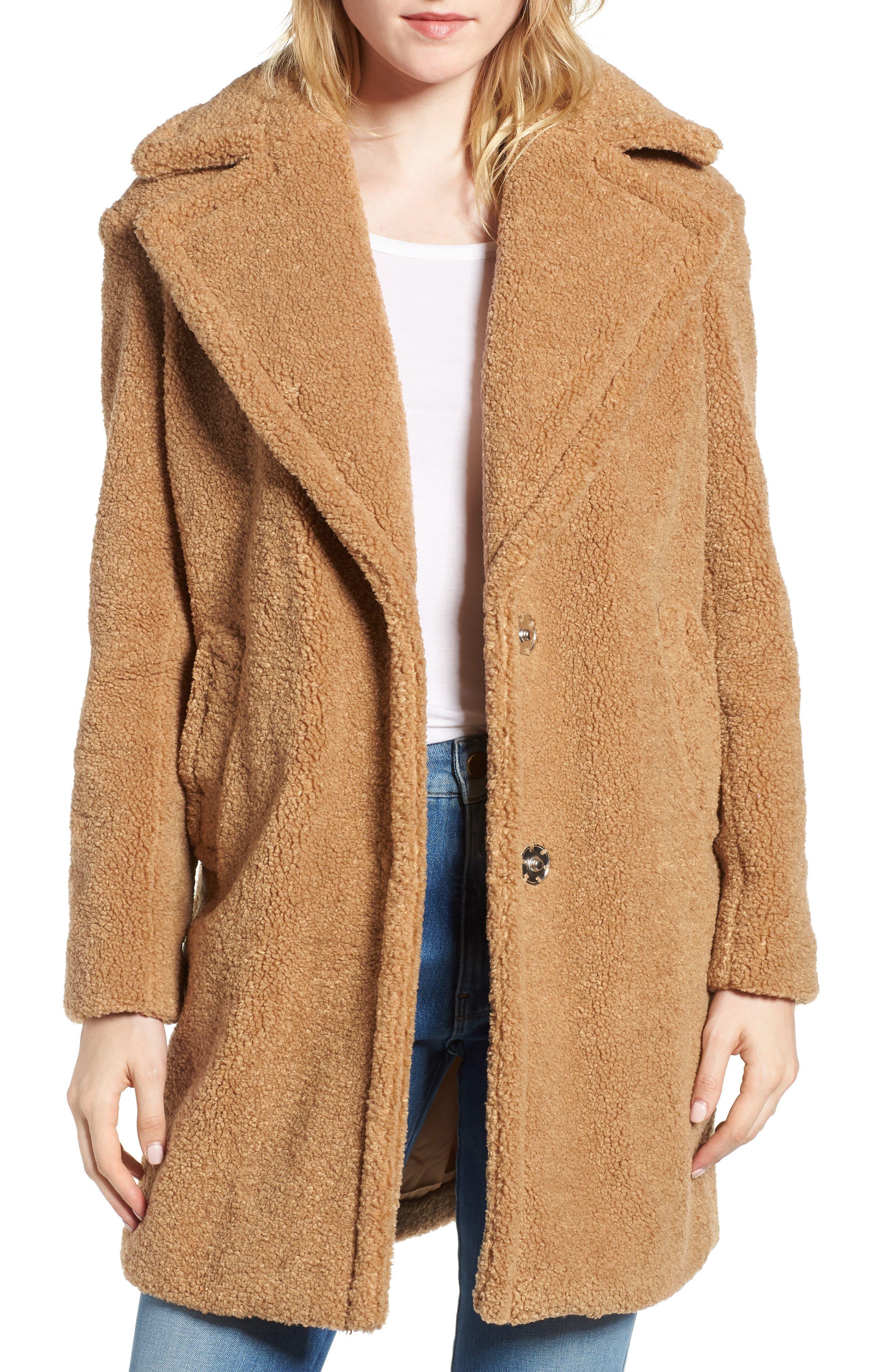 Women's 70s Shirts, Blouses, Hippie Tops Womens Kensie Faux Fur Teddy Bear Coat Size Medium - Beige $89.90 AT vintagedancer.com