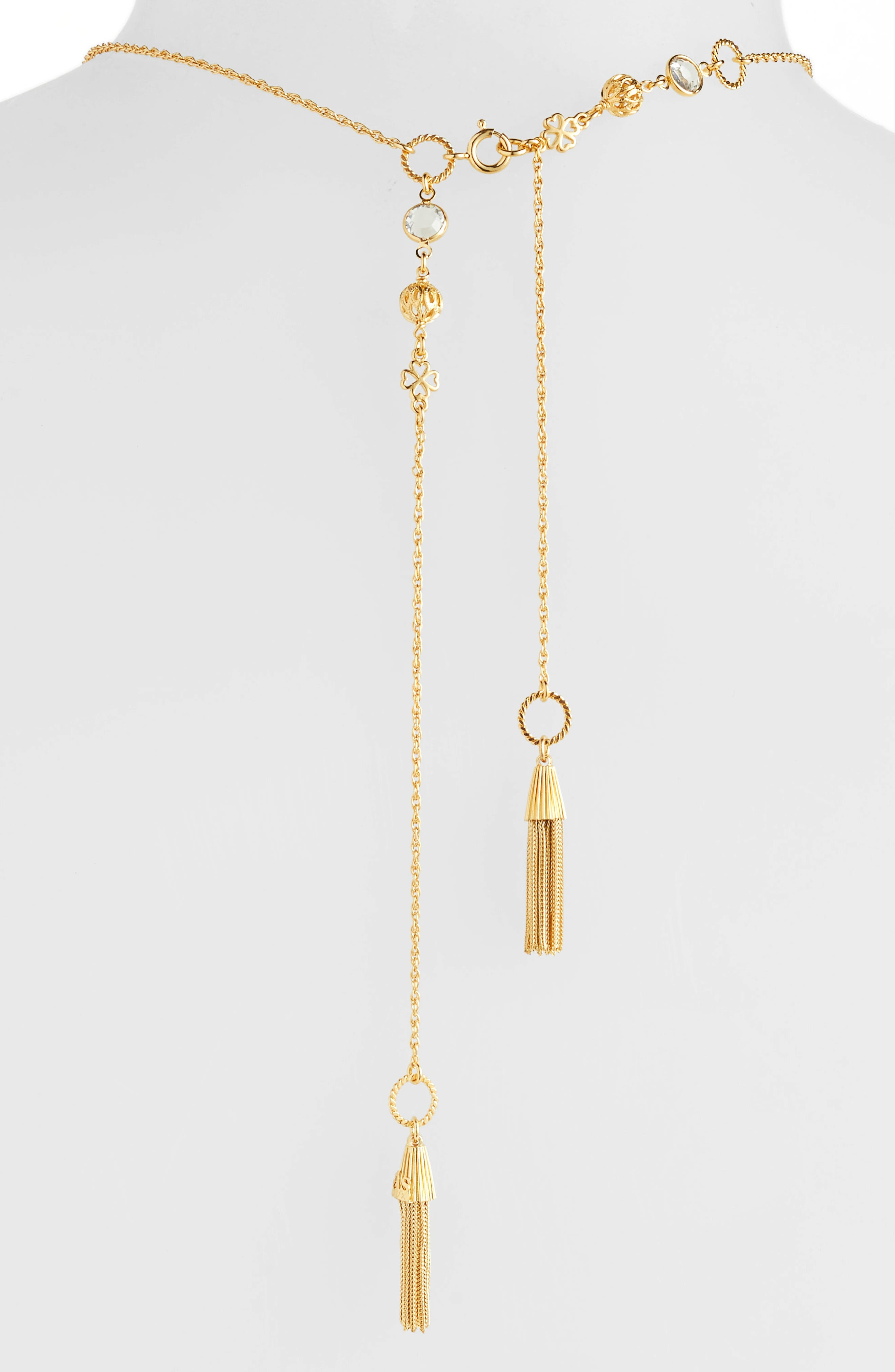 Tresse Long Lariat Necklace,                             Alternate thumbnail 3, color,                             YELLOW GOLD