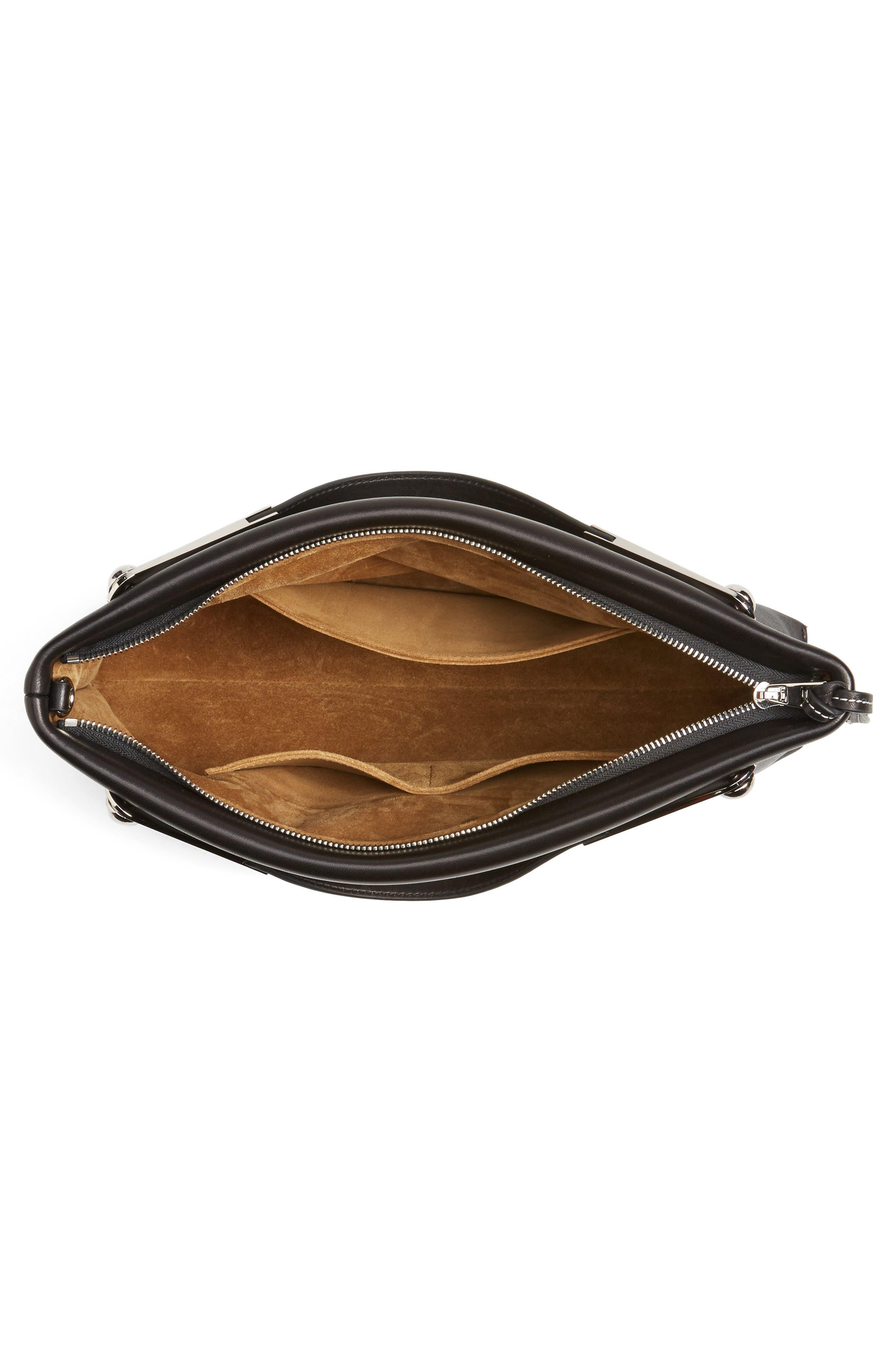 Missy Lambskin Leather Shoulder Bag,                             Alternate thumbnail 4, color,                             BLACK