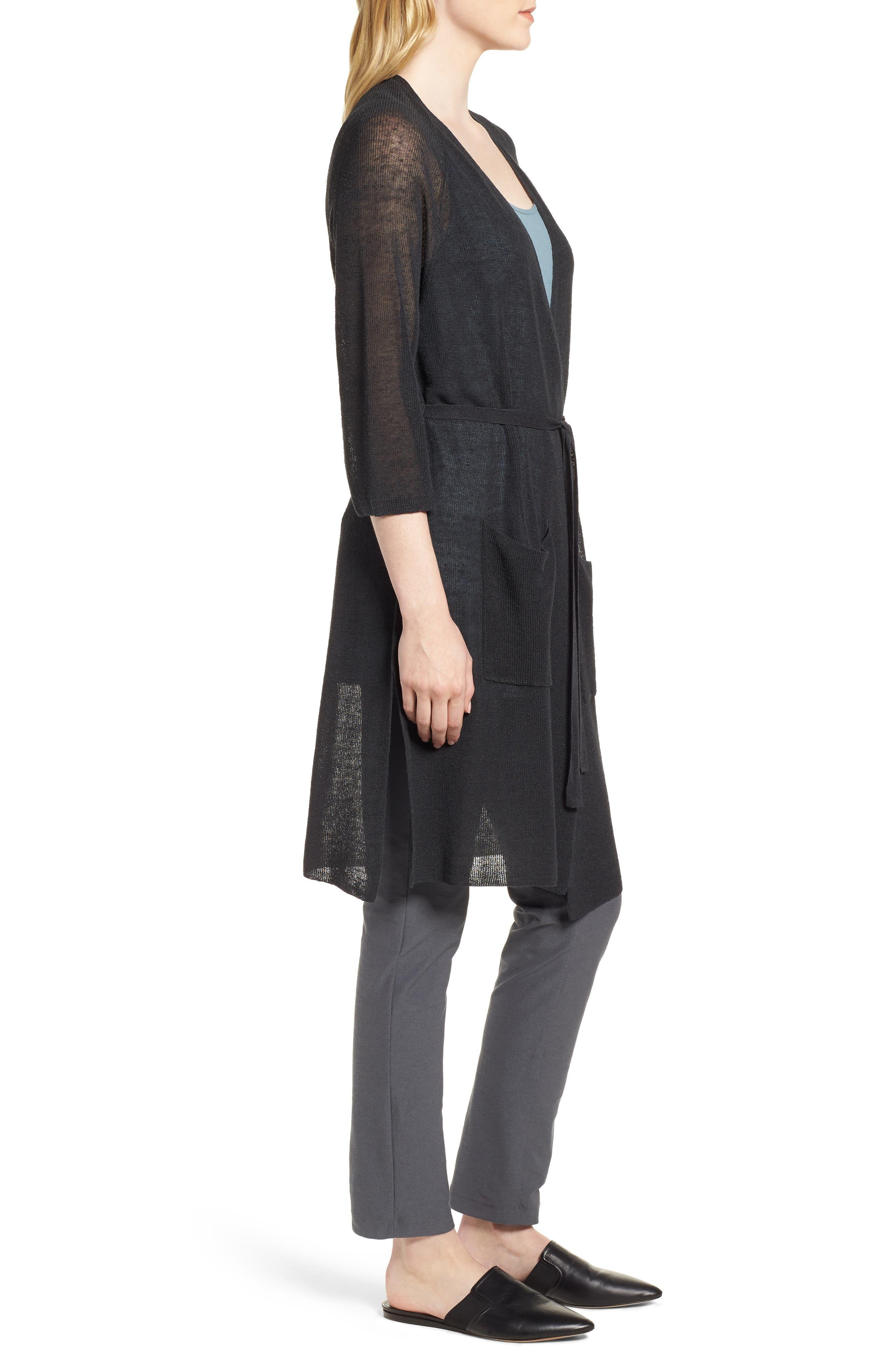 Long Organic Linen Blend Kimono Cardigan,                             Alternate thumbnail 3, color,                             025
