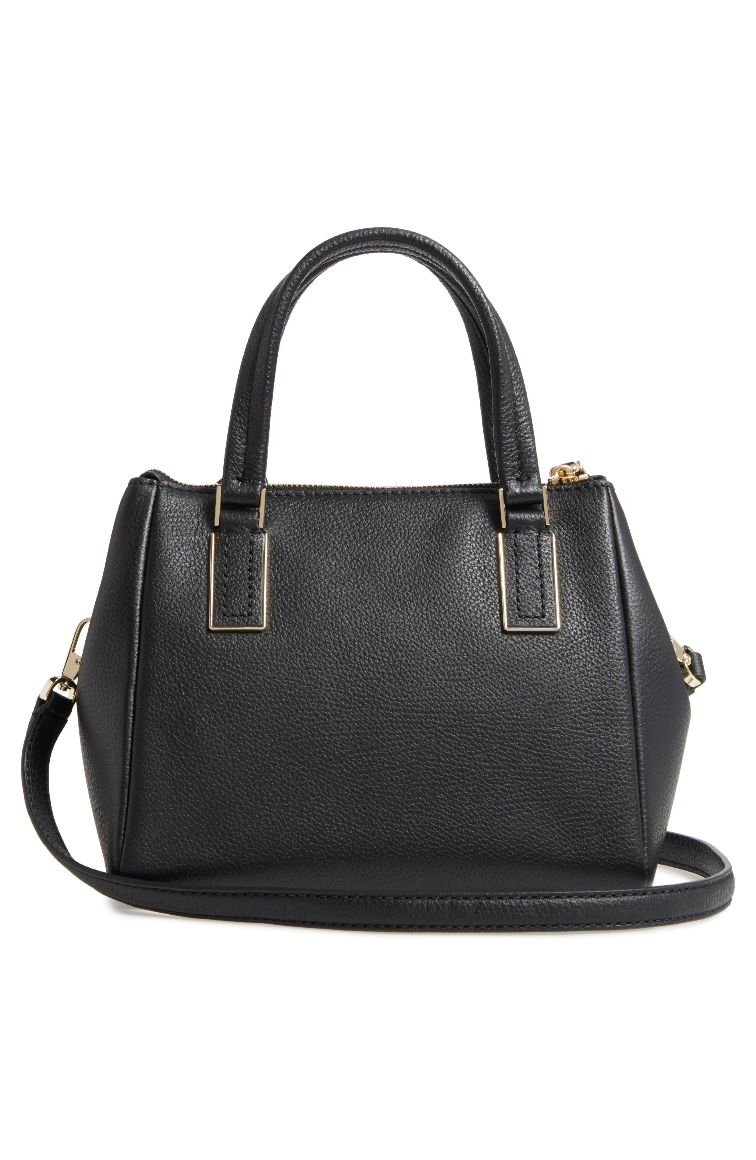 kingston drive - small alena leather satchel,                             Alternate thumbnail 3, color,                             BLACK