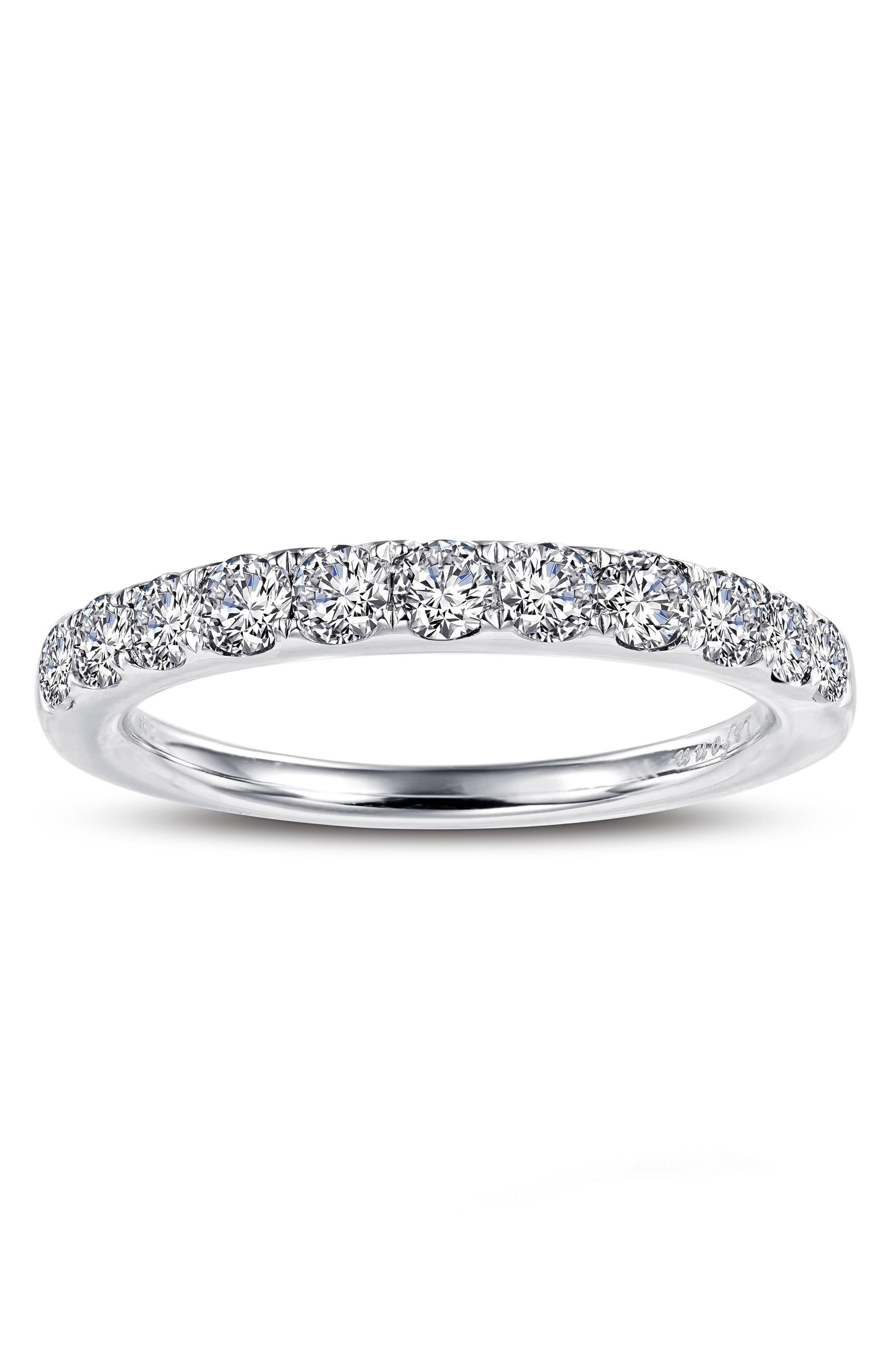 Simulated Diamond Birthstone Band Ring,                             Alternate thumbnail 2, color,                             APRIL - CLEAR/ SILVER