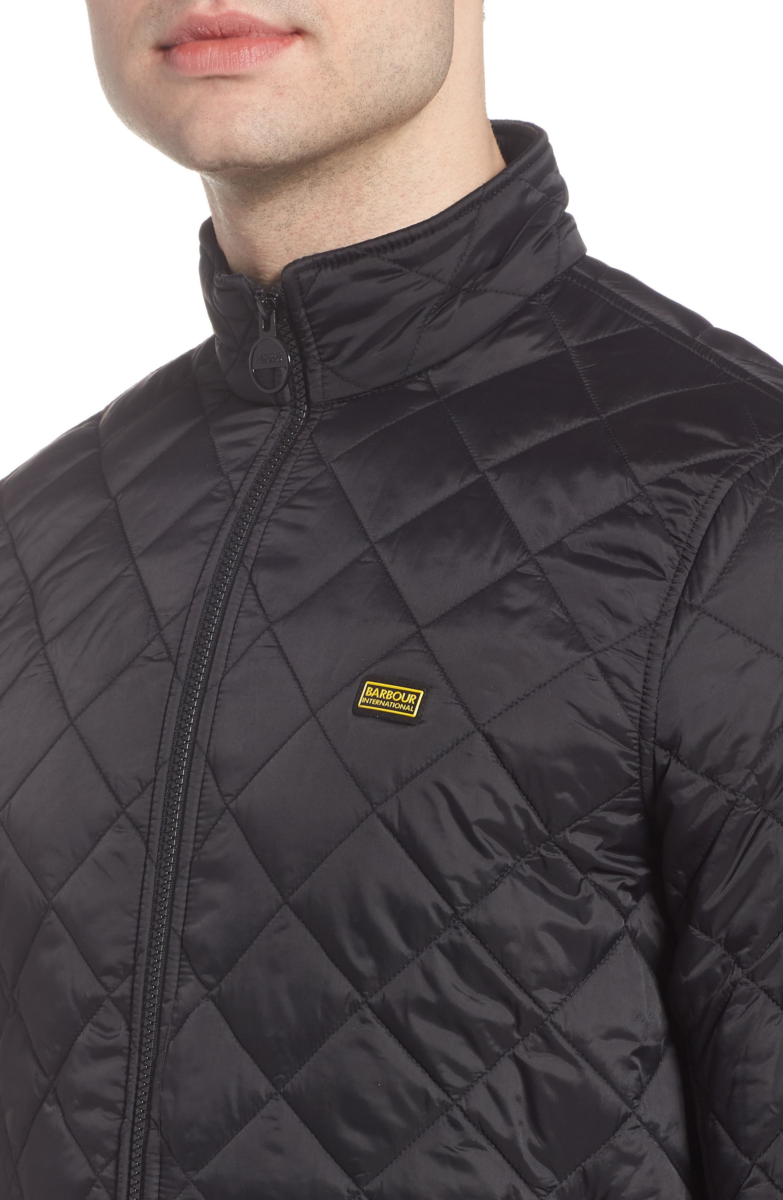 BARBOUR,                             Gear Quilted Jacket,                             Alternate thumbnail 4, color,                             BLACK