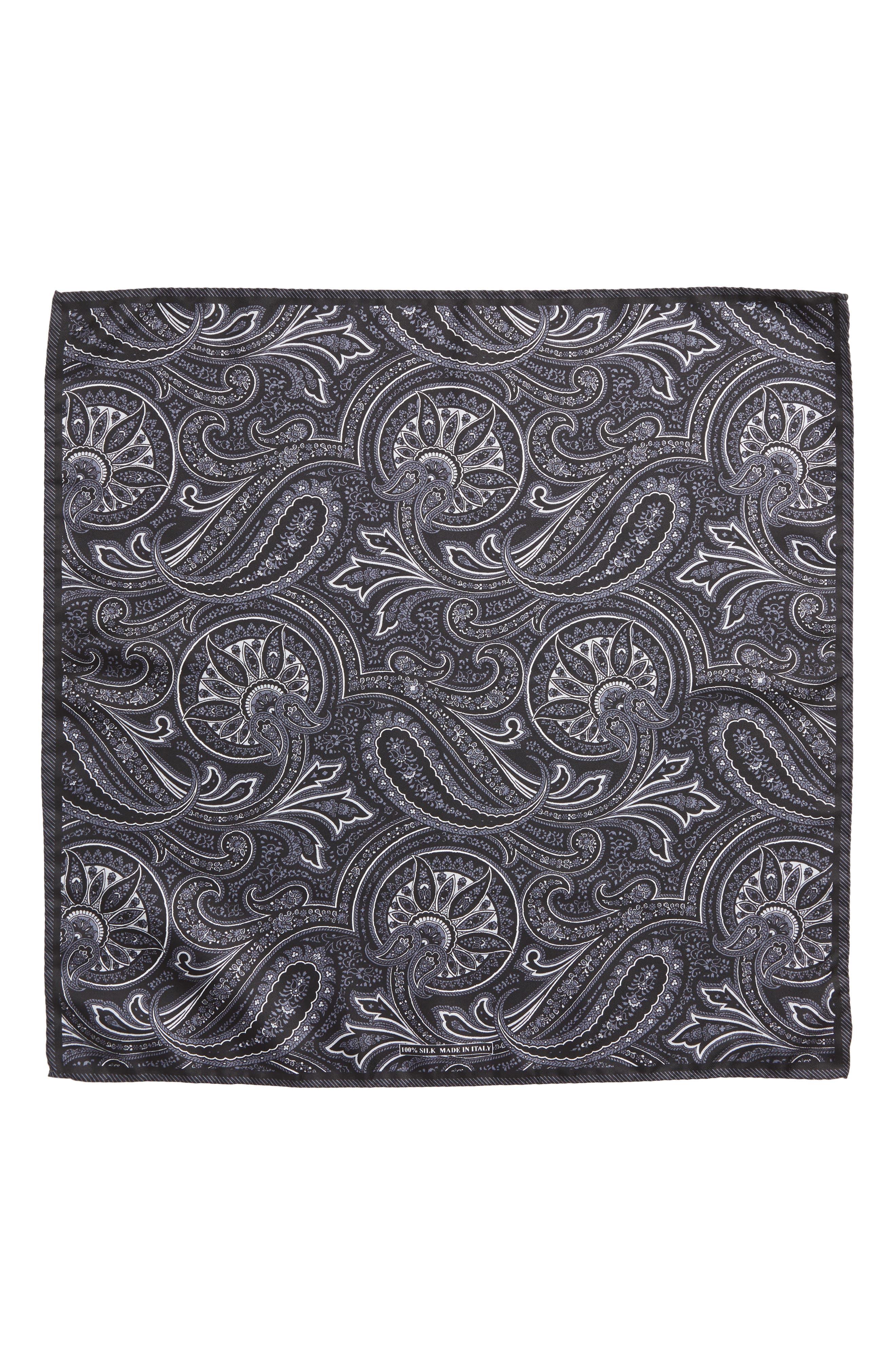 Paisley Silk Pocket Square,                             Alternate thumbnail 2, color,                             BLACK