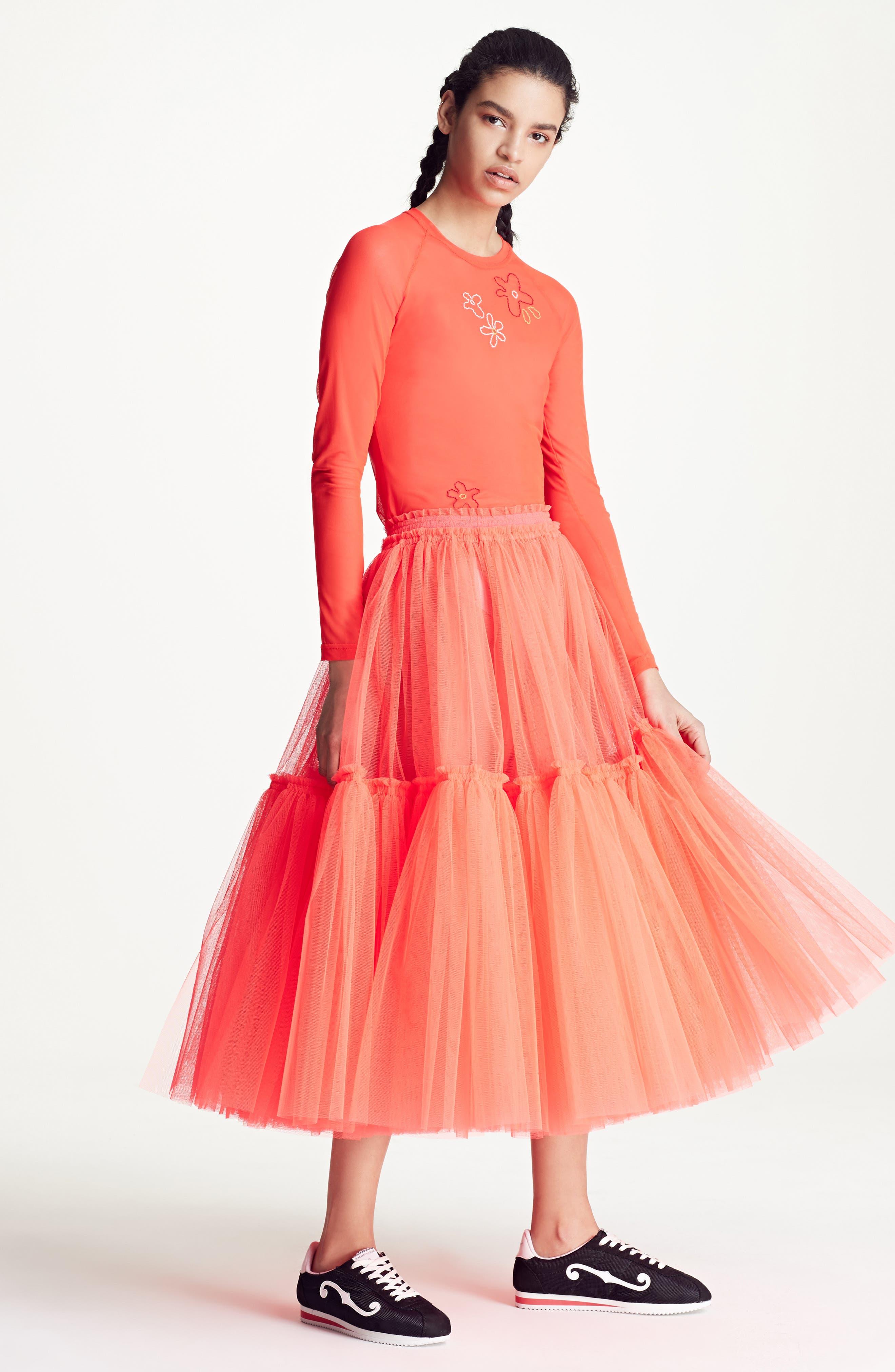 Gathered Tulle Skirt,                             Alternate thumbnail 12, color,