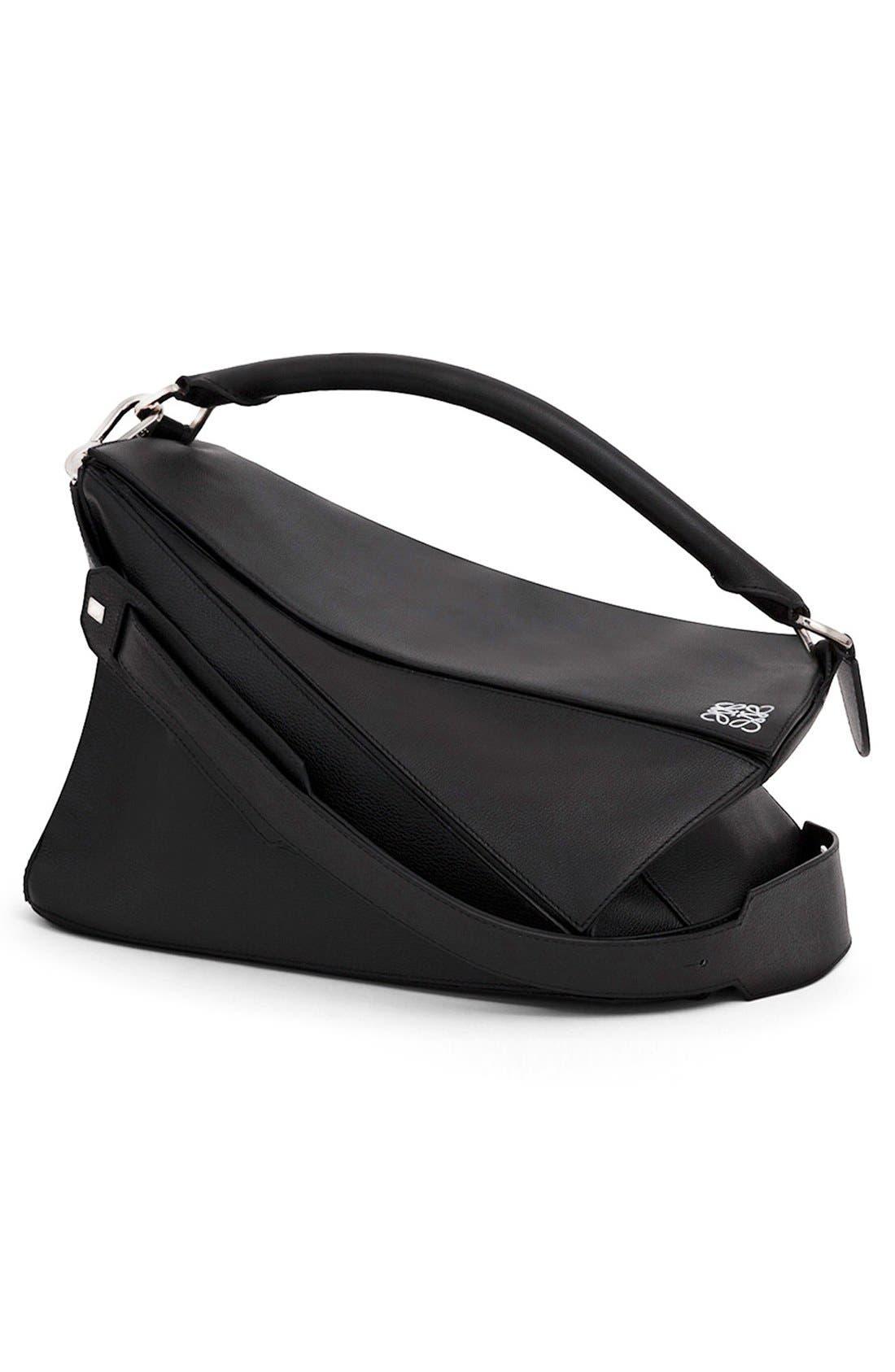 'Large Puzzle' Calfskin Leather Bag,                             Alternate thumbnail 5, color,                             001