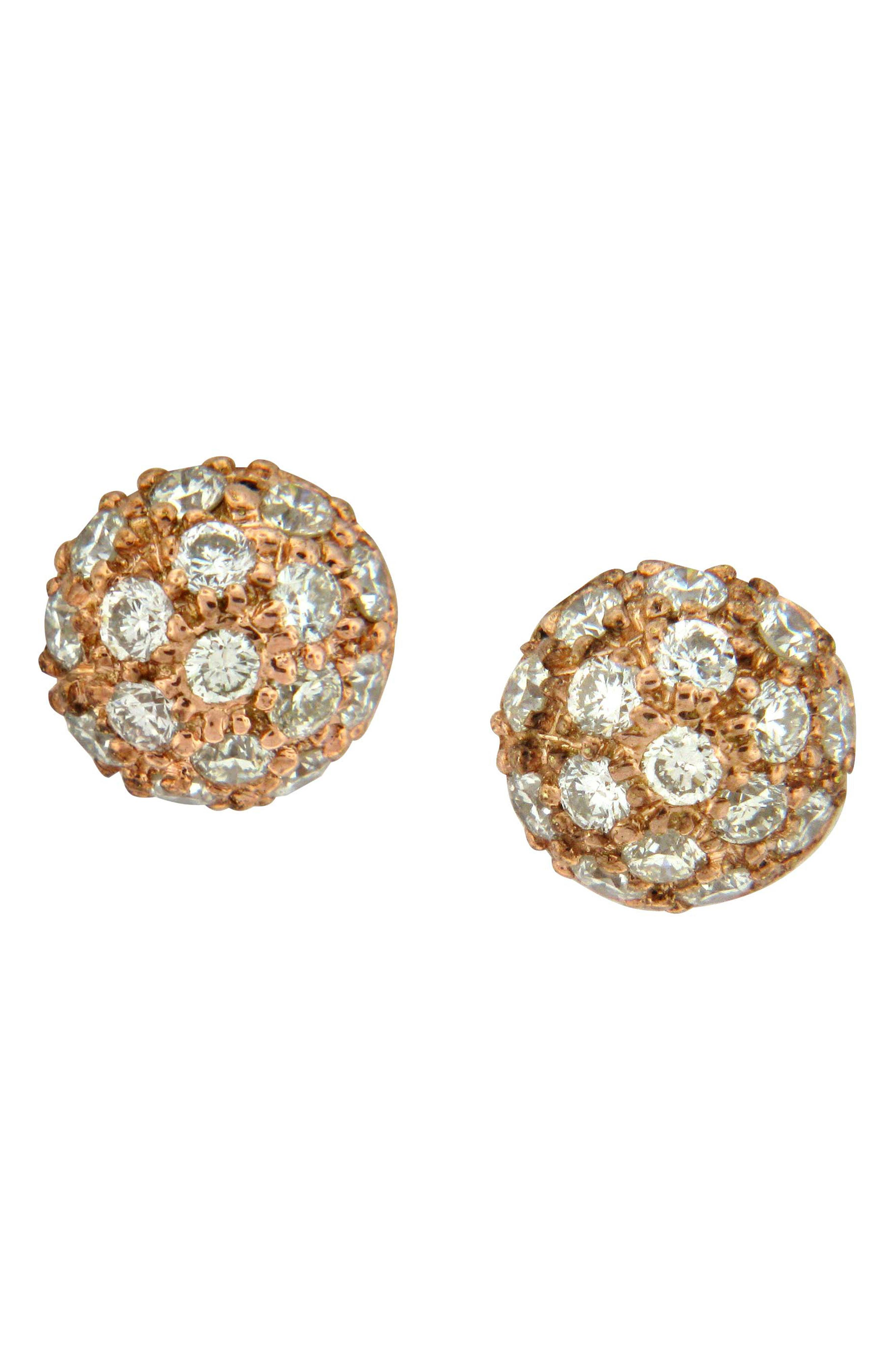 SETHI COUTURE Diamond Pave Ball Stud Earrings in Rose Gold/ Diamond
