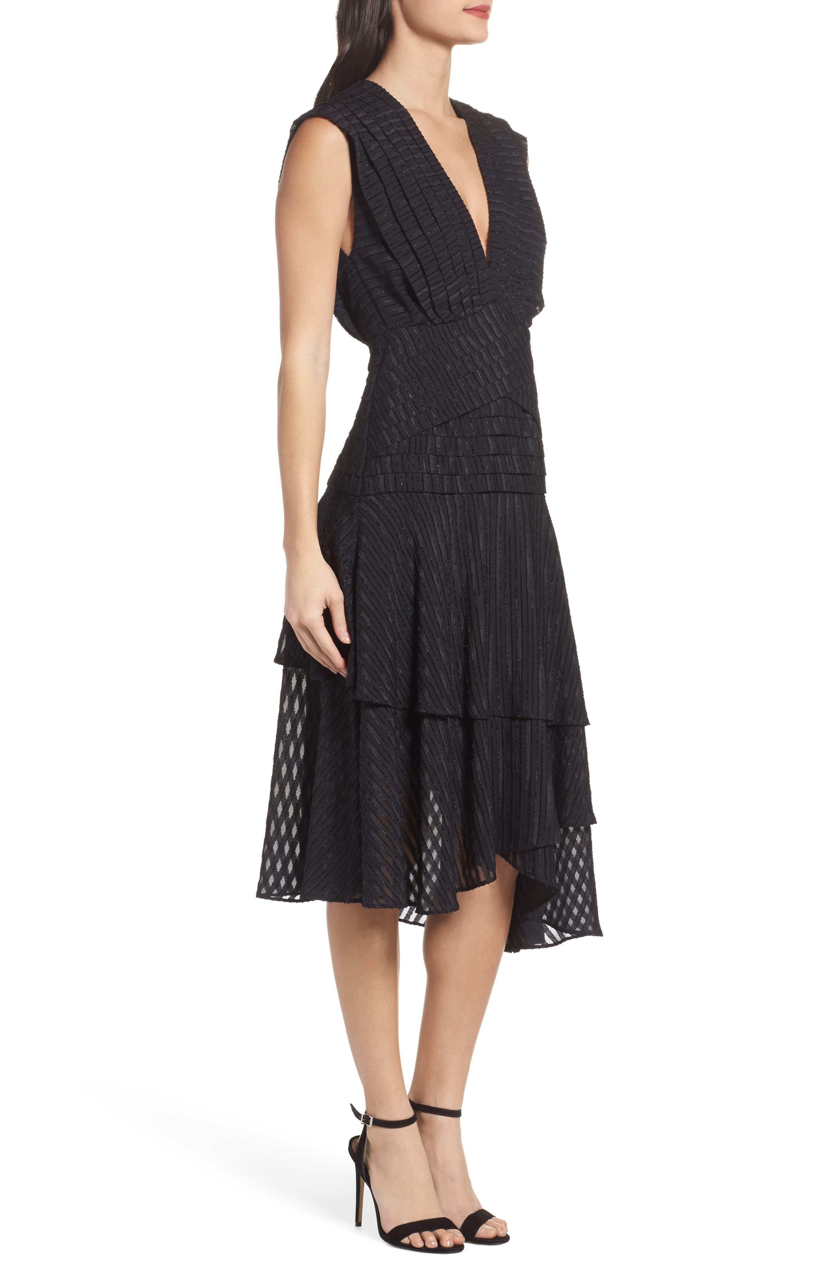 Waterfall Burnout Stripe Dress,                             Alternate thumbnail 3, color,                             001
