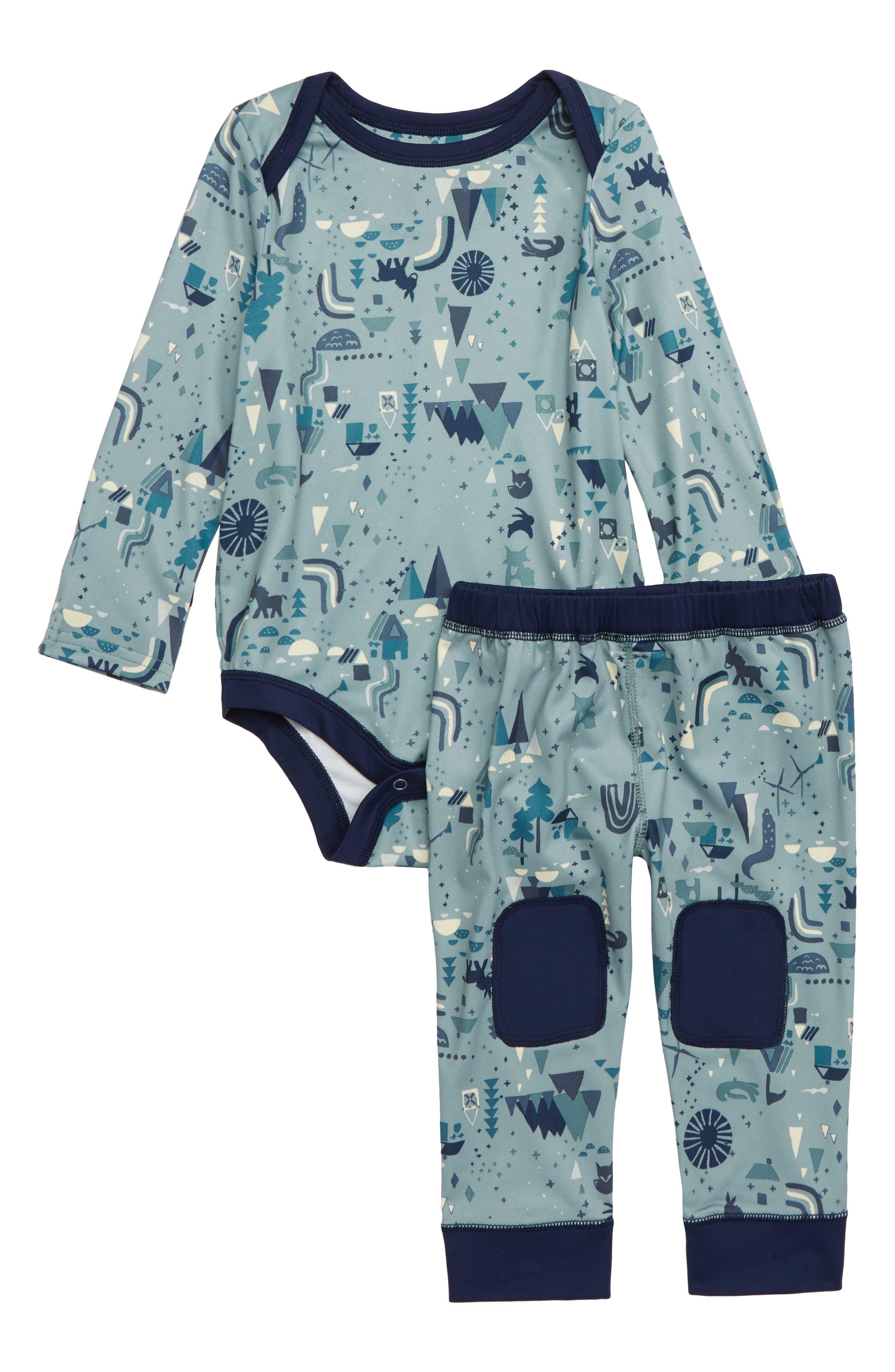 Capilene<sup>®</sup> Base Layer Bodysuit & Leggings,                             Main thumbnail 1, color,                             BHCA BLACK HOUSE CADET BLUE